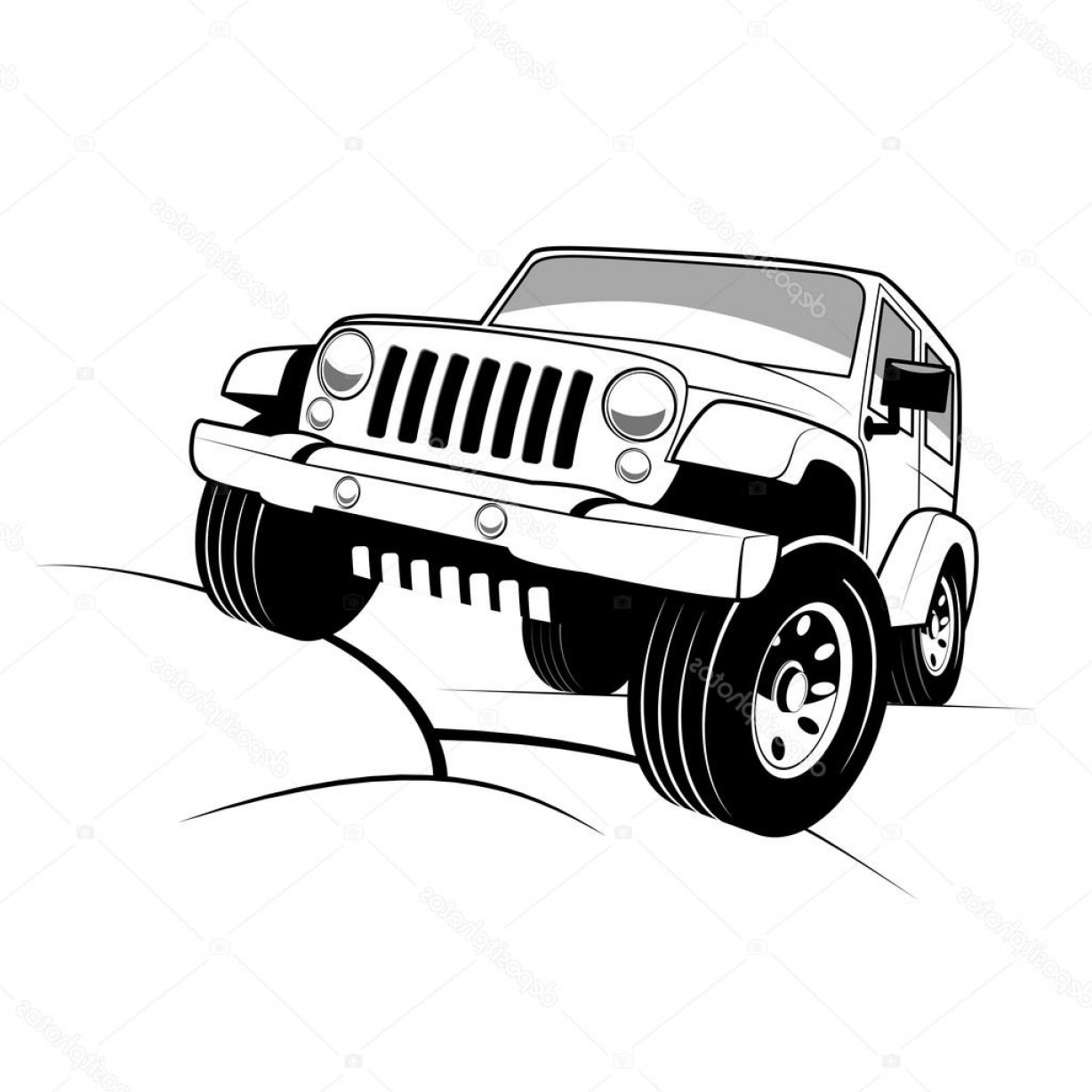 Jeep Off-Road Vector Art: Stock Illustration Monochrome Detailed Cartoon Off Road
