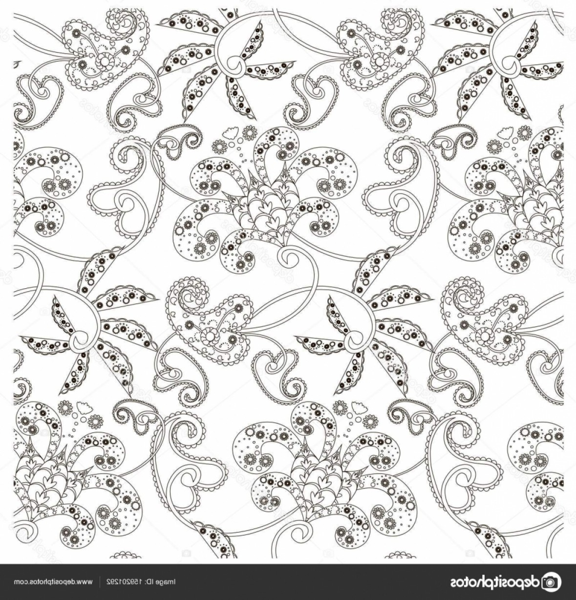 Paisley Swirl Flower Vector: Stock Illustration Monochrome Seamless Pattern With Flowers