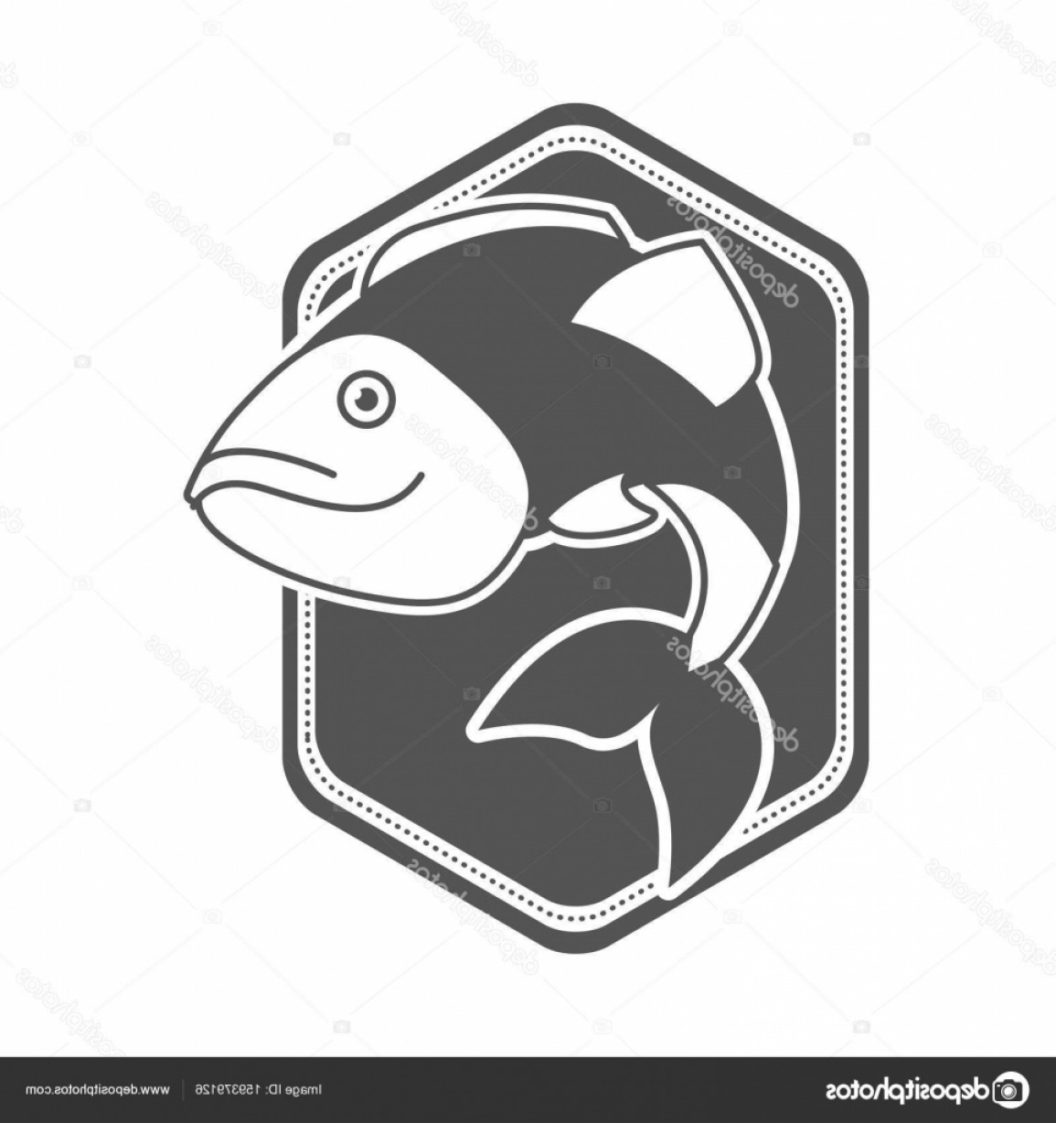 Largemouth Bass Silhouette Vector: Stock Illustration Monochrome Silhouette Of Diamond Shape