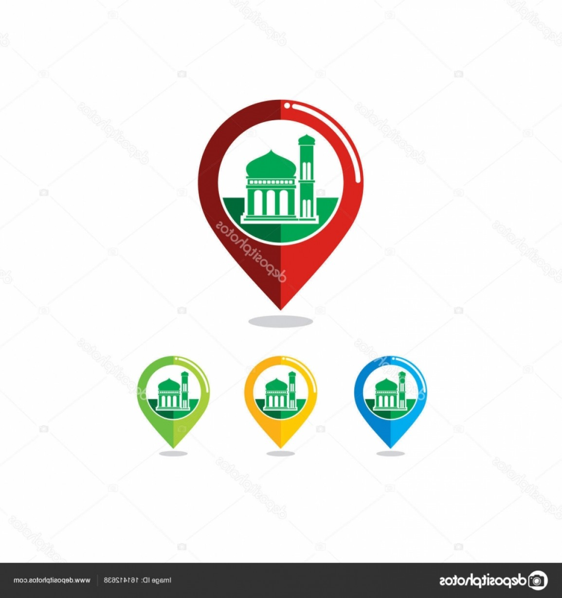 Mosque Vector Map: Stock Illustration Mosque Colorful Map Icon Vector