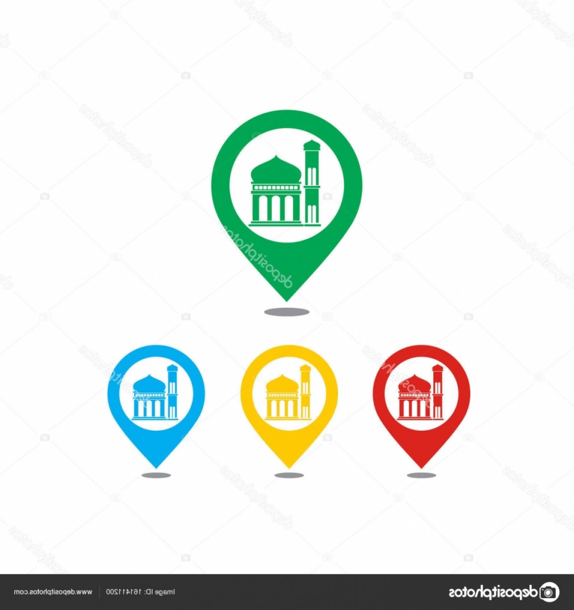 Mosque Vector Map: Stock Illustration Mosque Colorful Map Icons