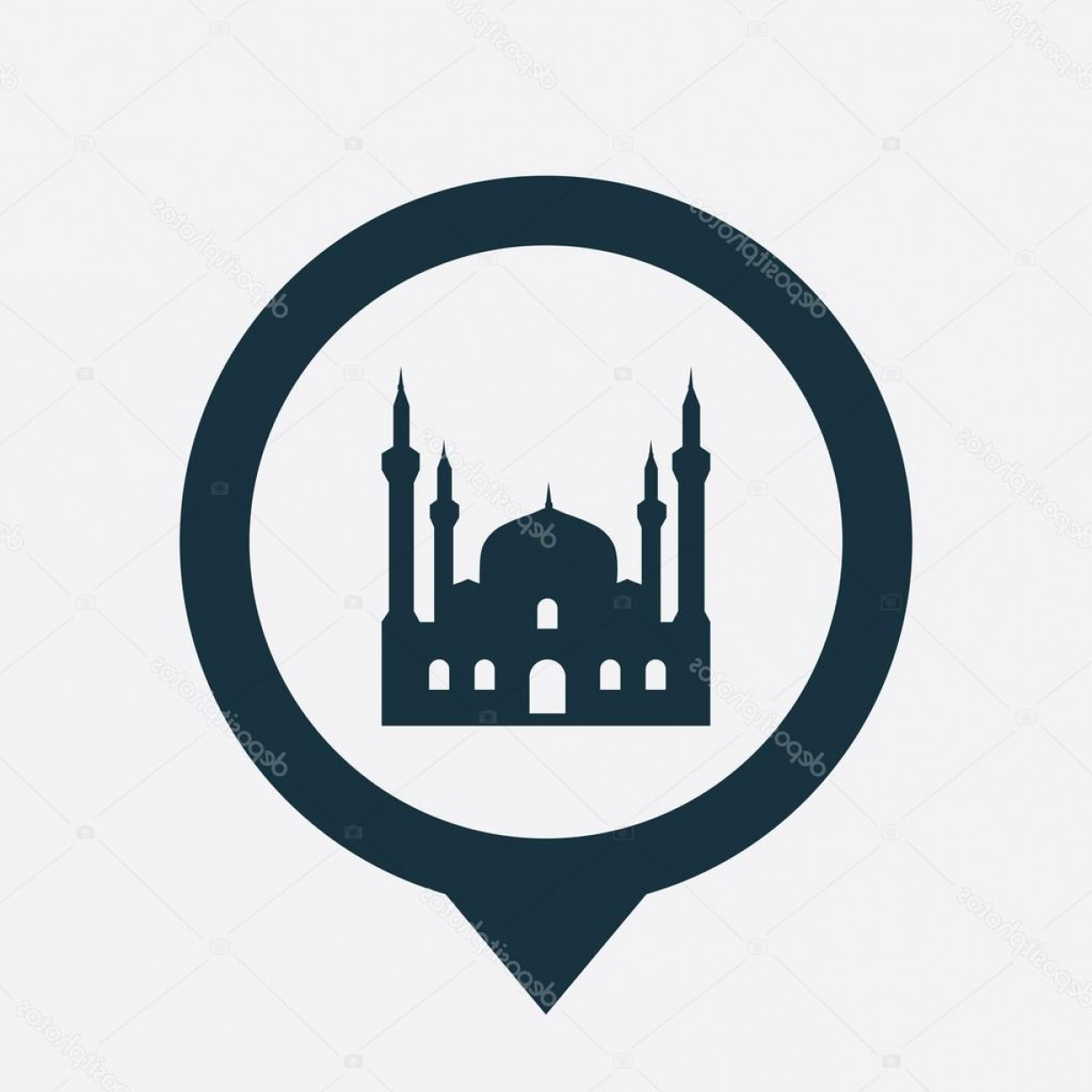 Mosque Vector Map: Stock Illustration Mosque Icon Map Pin