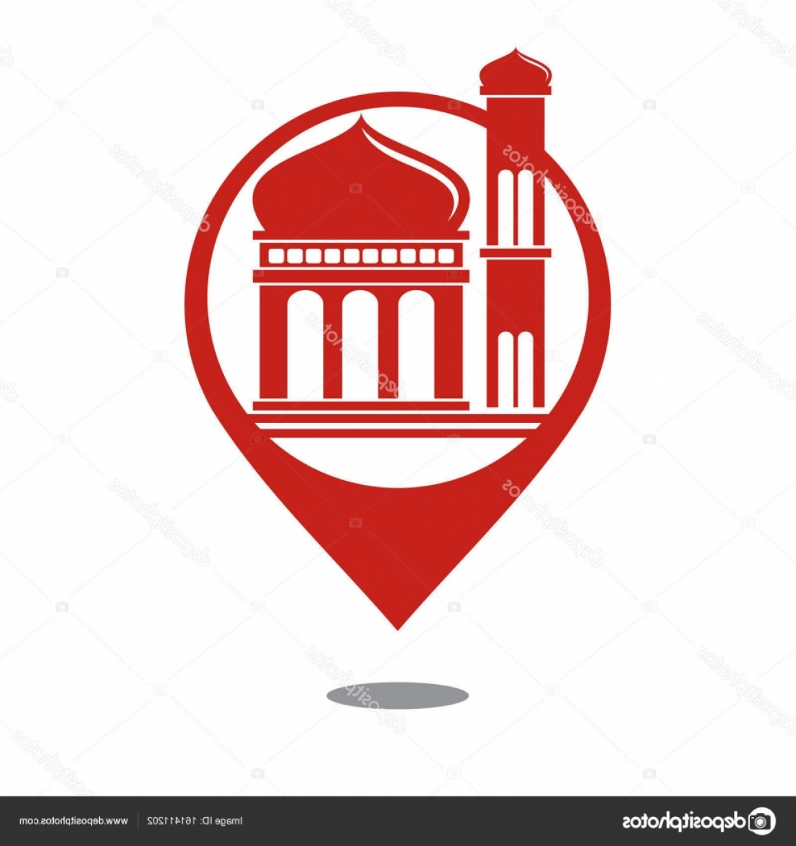 Mosque Vector Map: Stock Illustration Mosque Map Icon Vector