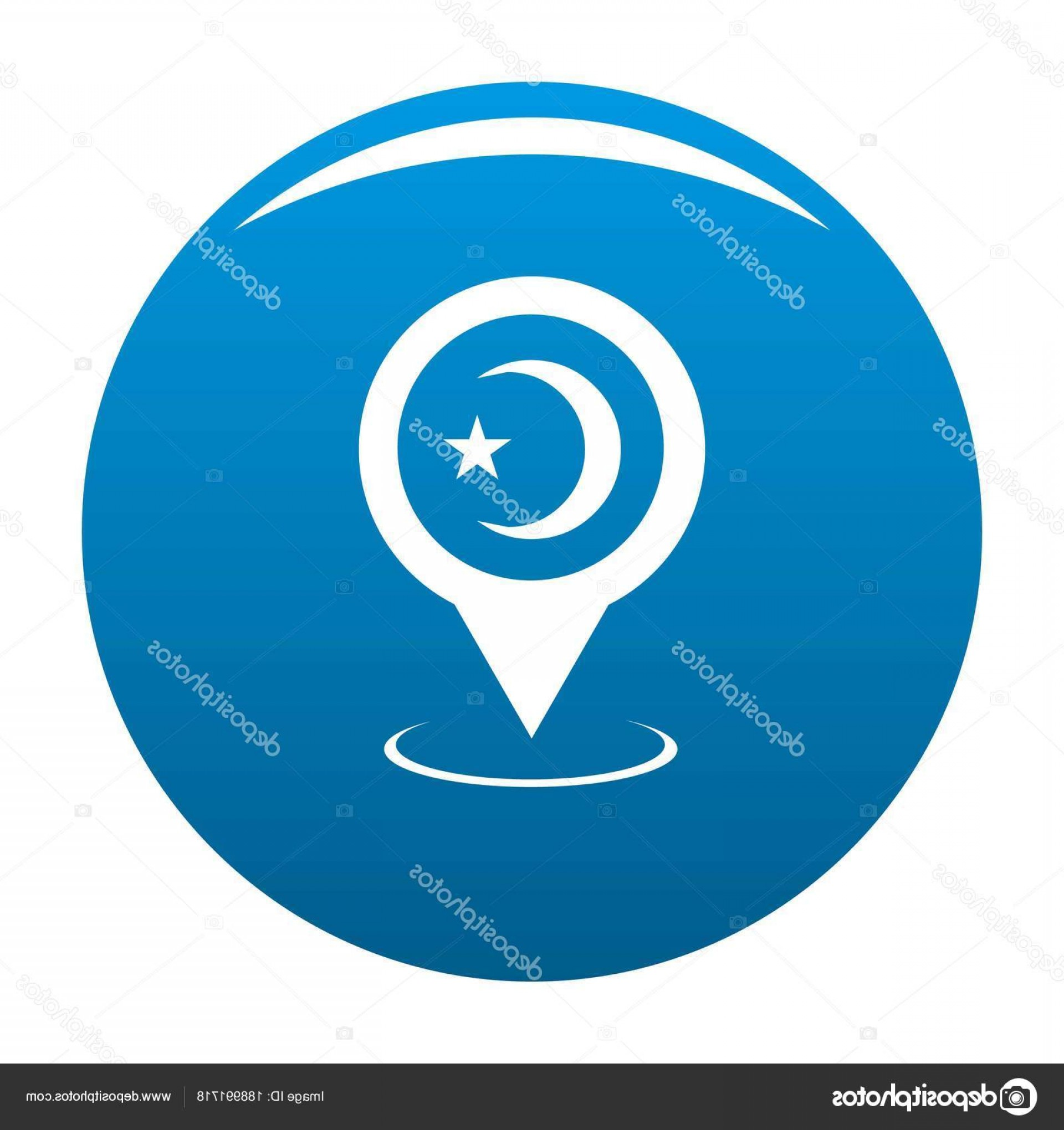 Mosque Vector Map: Stock Illustration Mosque Map Pointer Icon Blue