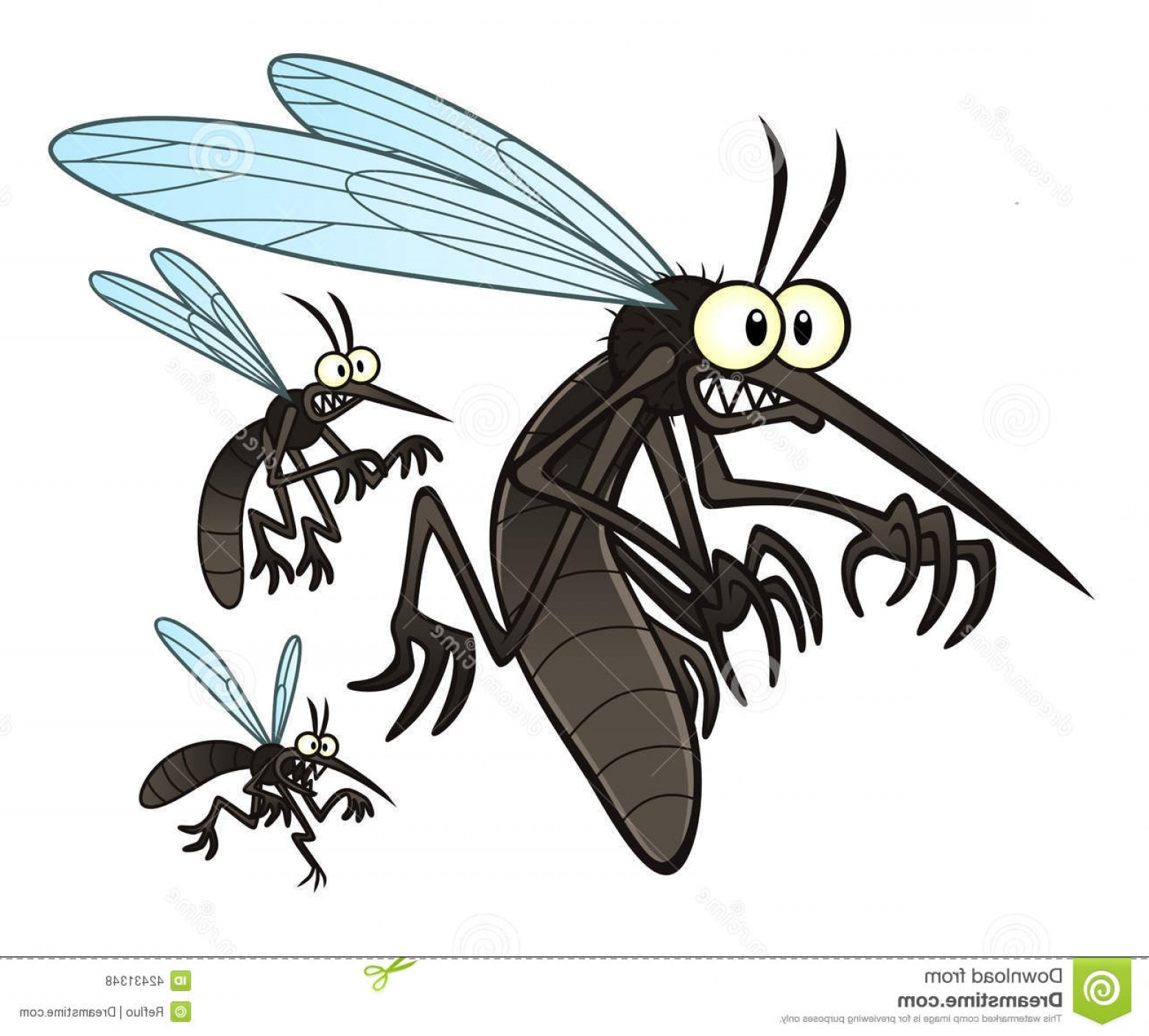 Termites With Wings Vector: Stock Illustration Mosquitoes Vector Illustration Flying Three Cartoon Image