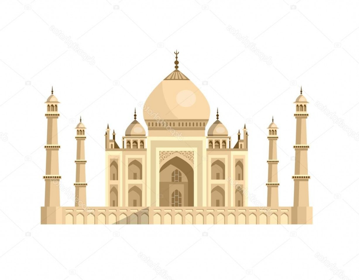 Taj Mahal Vector: Stock Illustration Most Famous World Landmark Vector