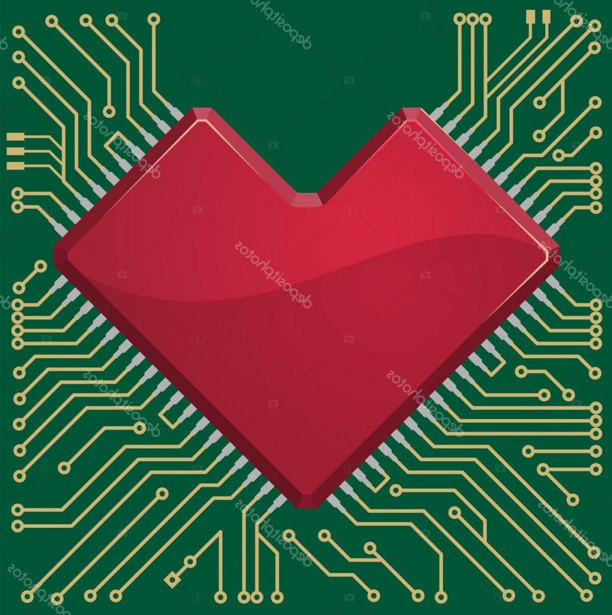 Motherboard Vector With A Heart: Stock Illustration Motherboard Heart Chip On Microcircuit