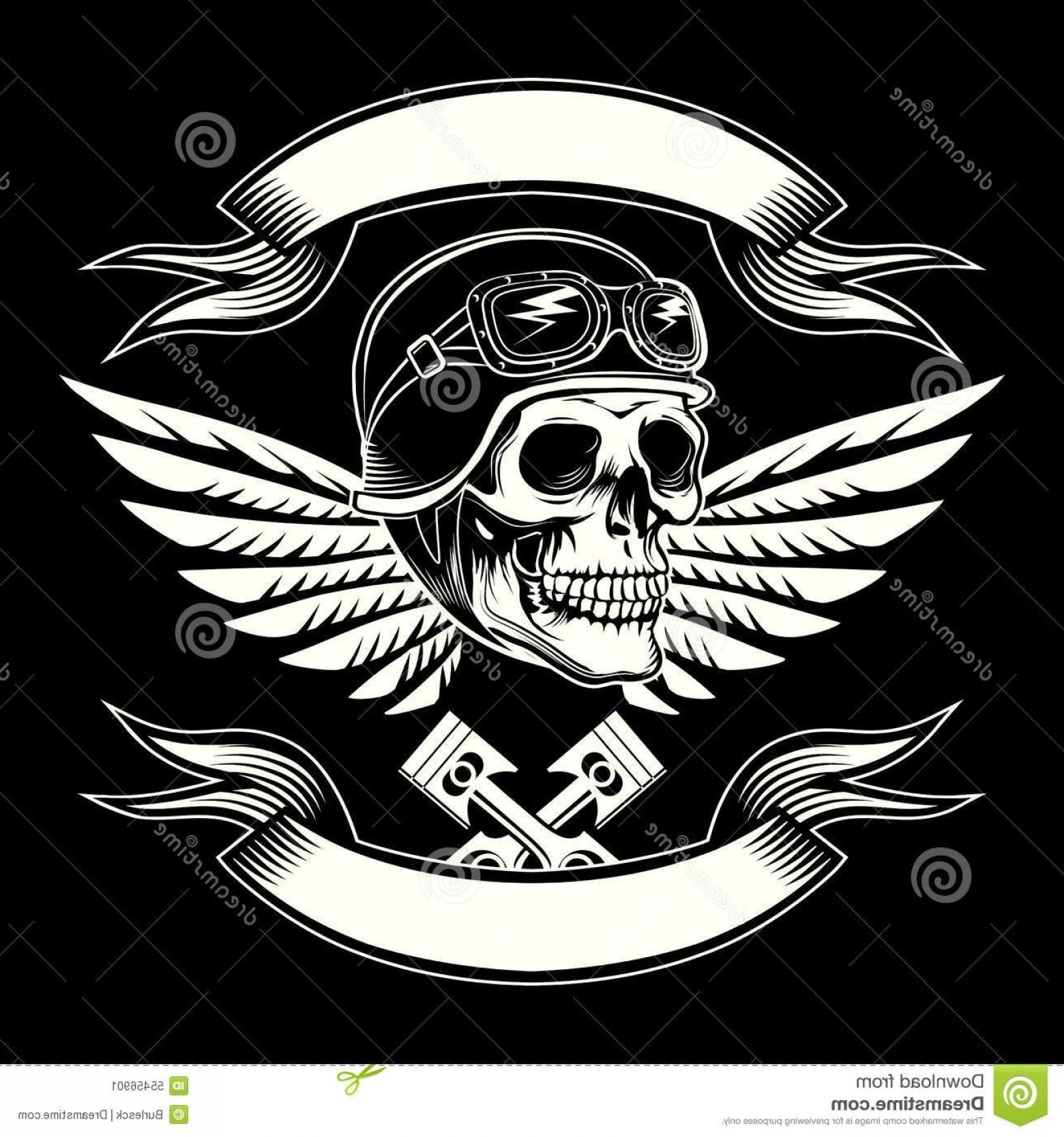 Harley -Davidson Skull Logo Vector: Stock Illustration Motor Skull Vector Graphic Motorcycle Vintage Design Biker Emblem Rider Insignia Icon Logo Tattoo Image