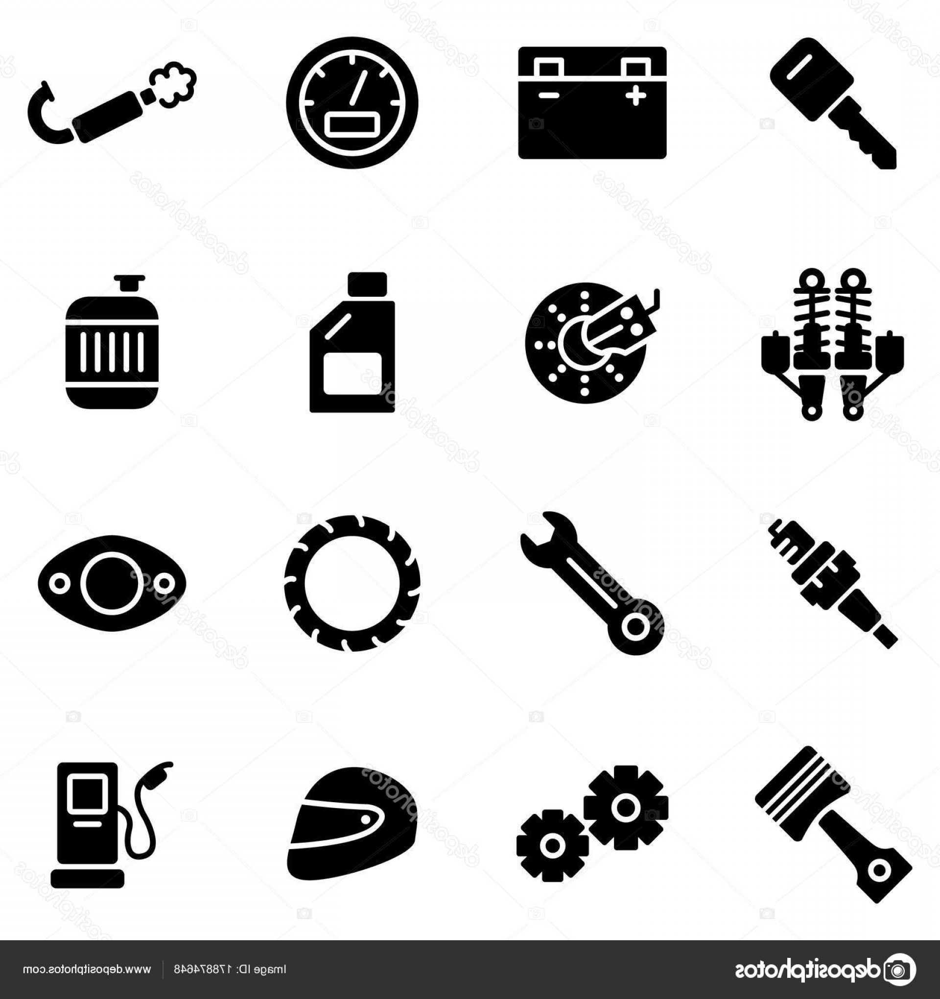 Vector Motorcycle Parts: Stock Illustration Motorcycle Parts Vector Icons Details