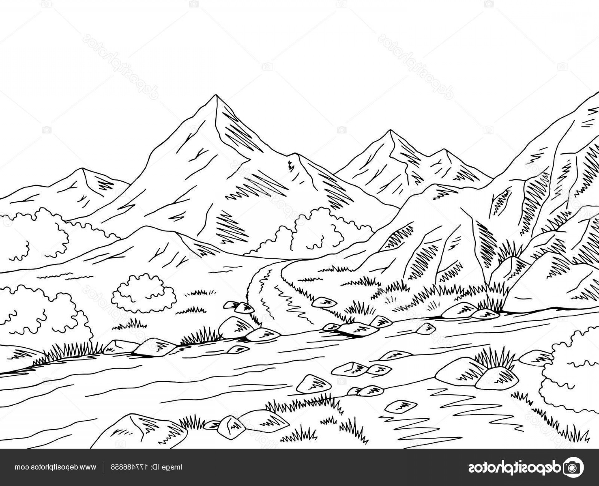 Ford Vector Art: Stock Illustration Mountain Road Graphic Black White