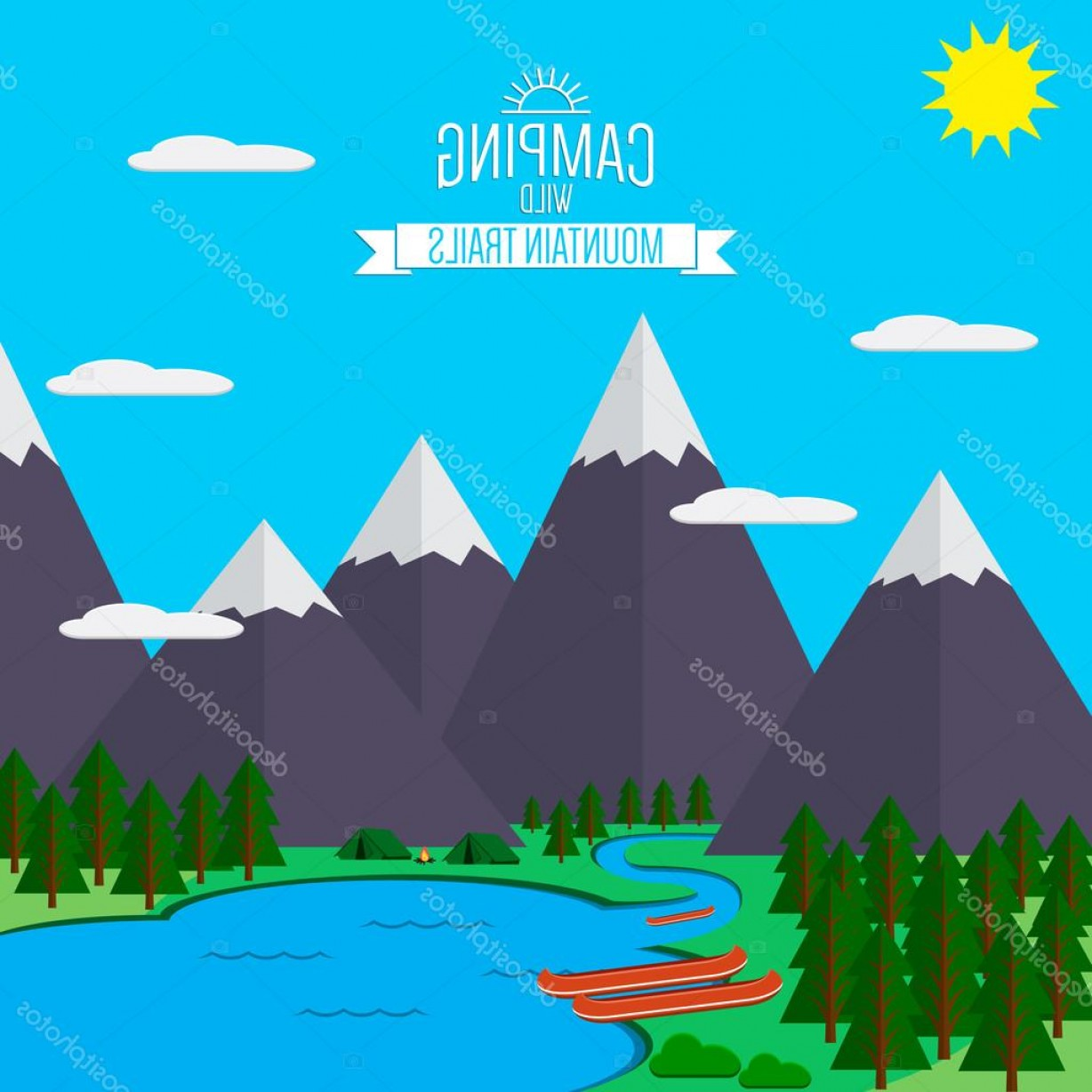 Mountain Trail Vector: Stock Illustration Mountains With Forest And River