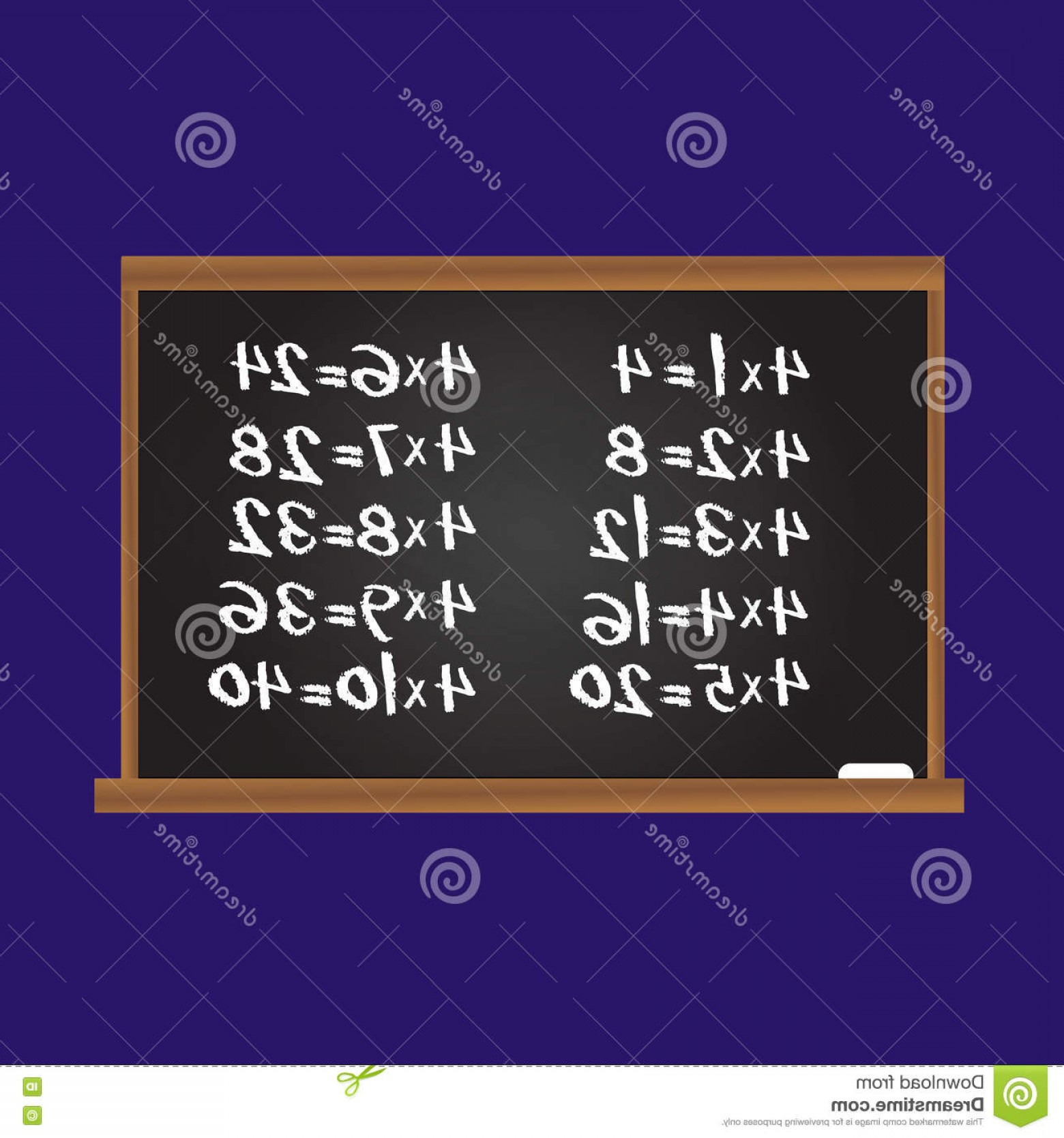 Row Vector Multiplication: Stock Illustration Multiplication Table Number Four Row School Chalk Board Educational Illustration Kids Children Vector Image