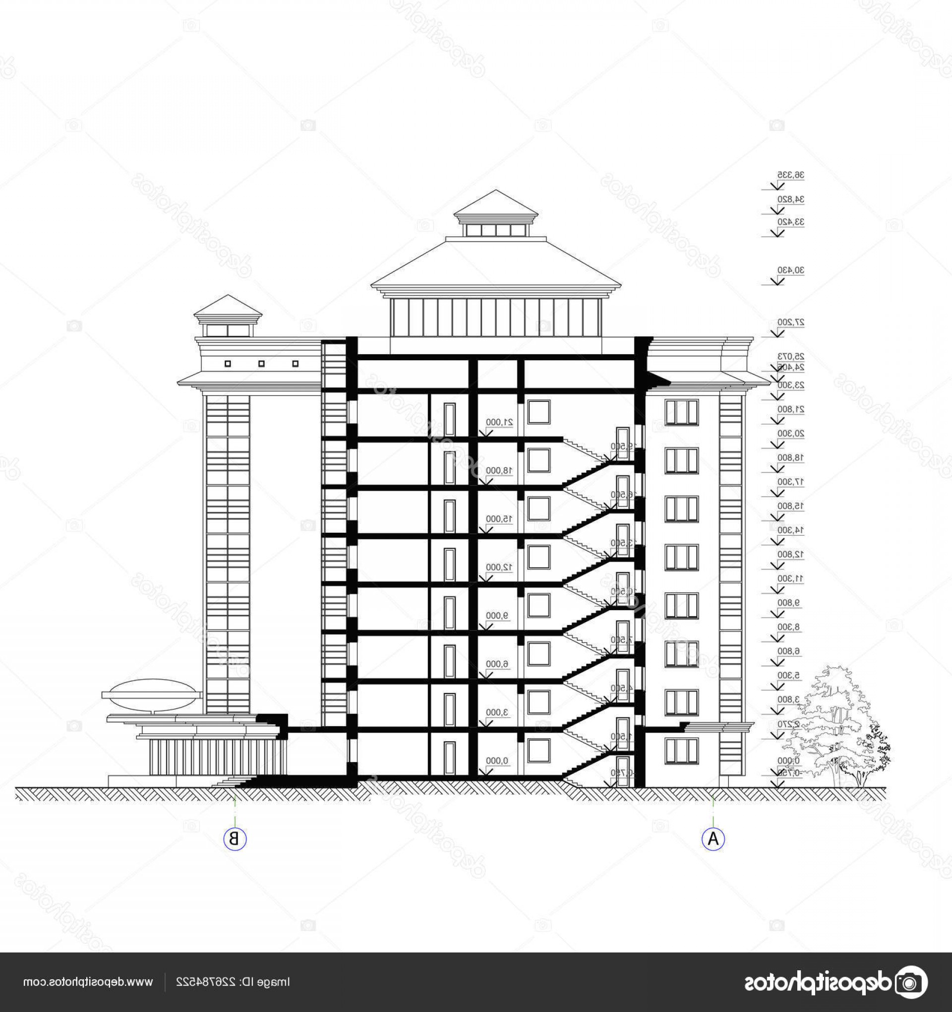 Residential Blueprint Vector Black: Stock Illustration Multistory Building Section Detailed Architectural
