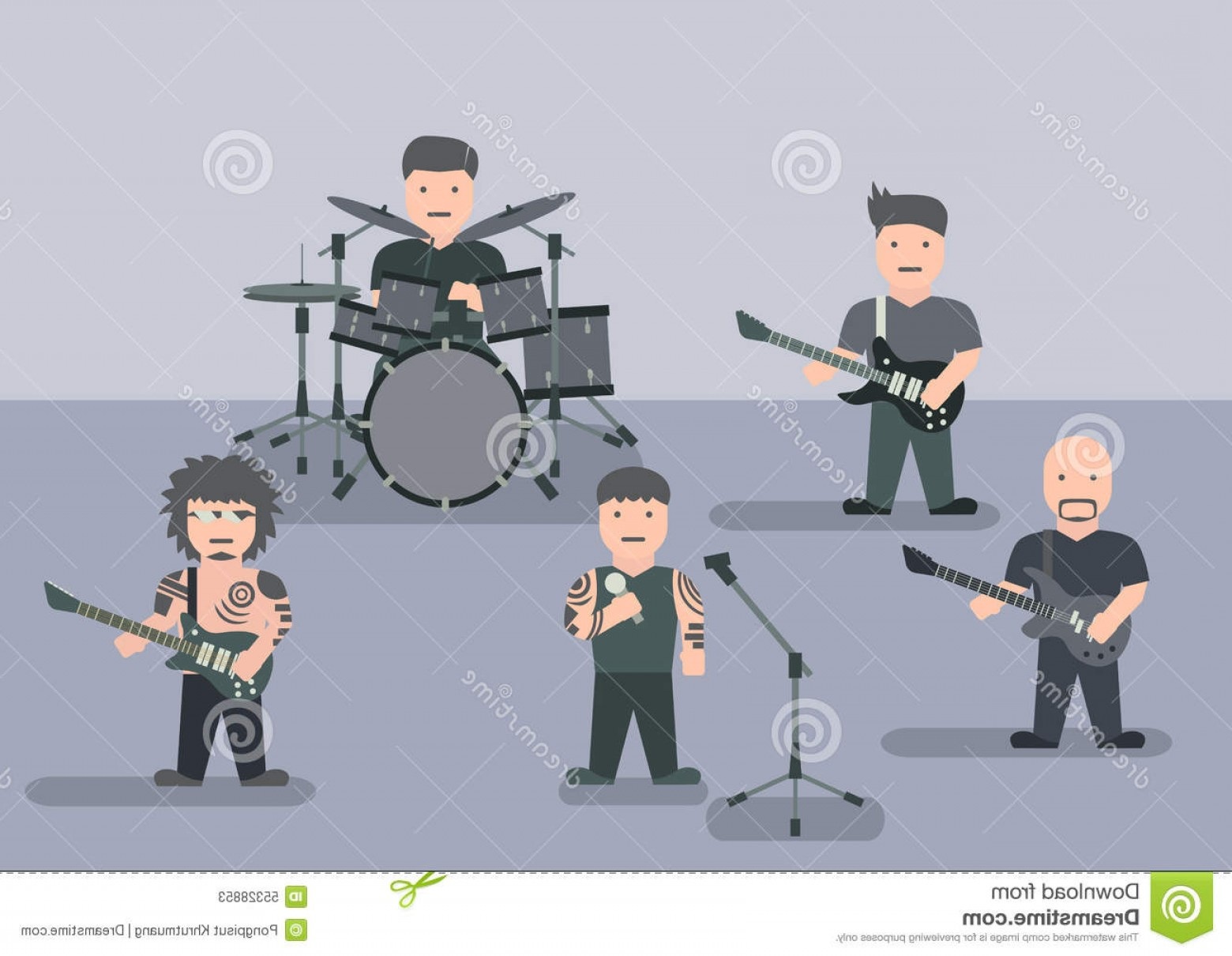 Musician Person Vector: Stock Illustration Music Band Flat Graphic Vector Image