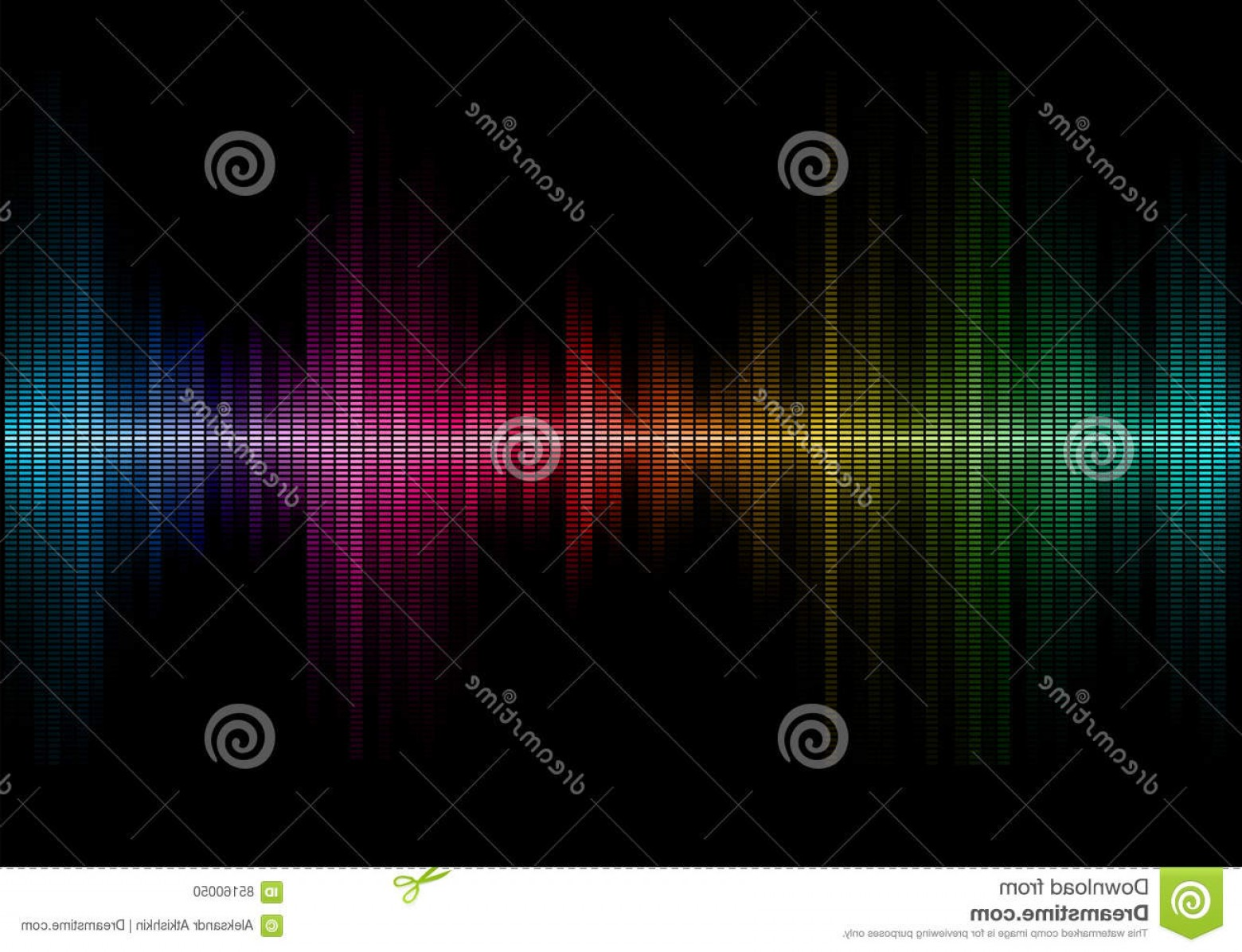 Rock Band Equalizer Vector: Stock Illustration Music Sound Waves Disco Rainbow Colored Equalizer Waveform Design Vector Illustration Musical Pulse Image