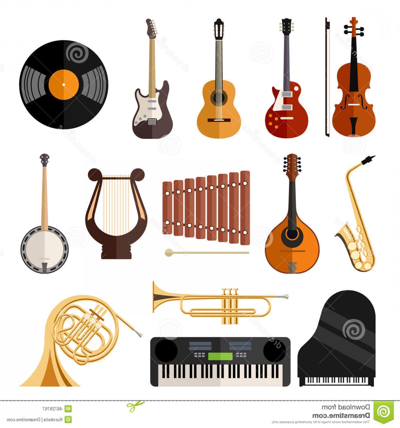 Musical Keyboard Vector: Stock Illustration Musical Instruments Flat Icons Modern Vector Colorful Image
