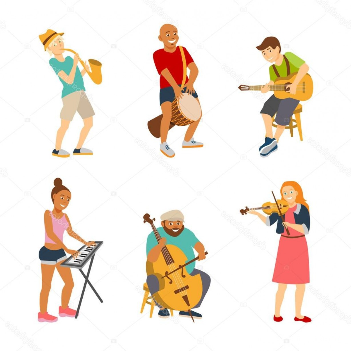 Musician Person Vector: Stock Illustration Musician Cartoon Characters Isolated On