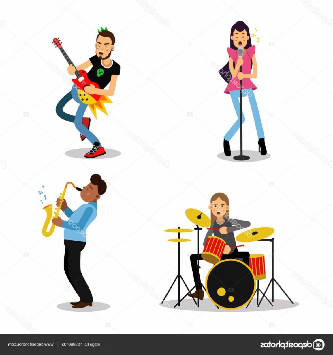 Musician Person Vector: Stock Illustration Musician Characters With Different Musical