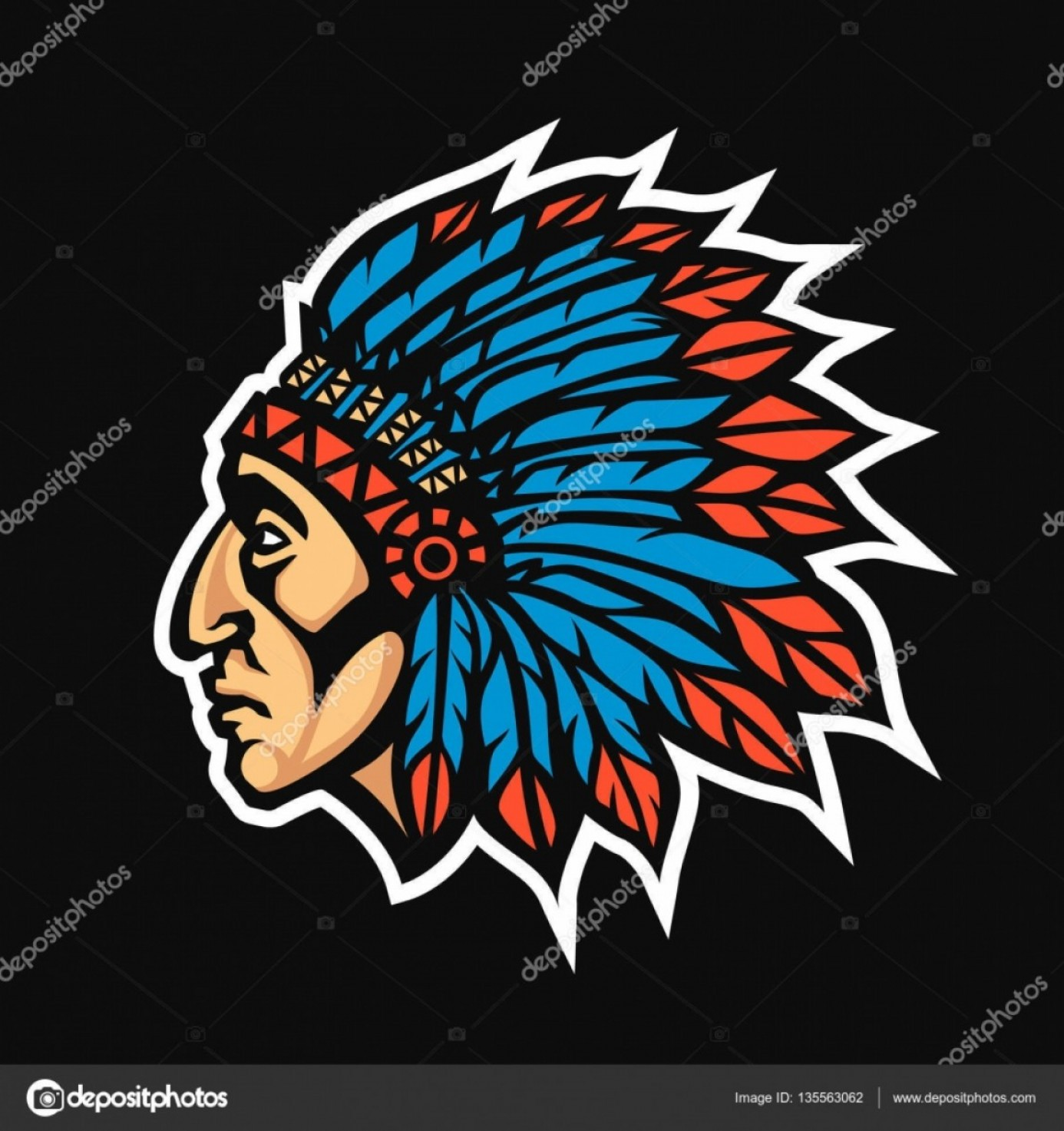 American Indian Chief Vector: Stock Illustration Native American Indian Chief Head