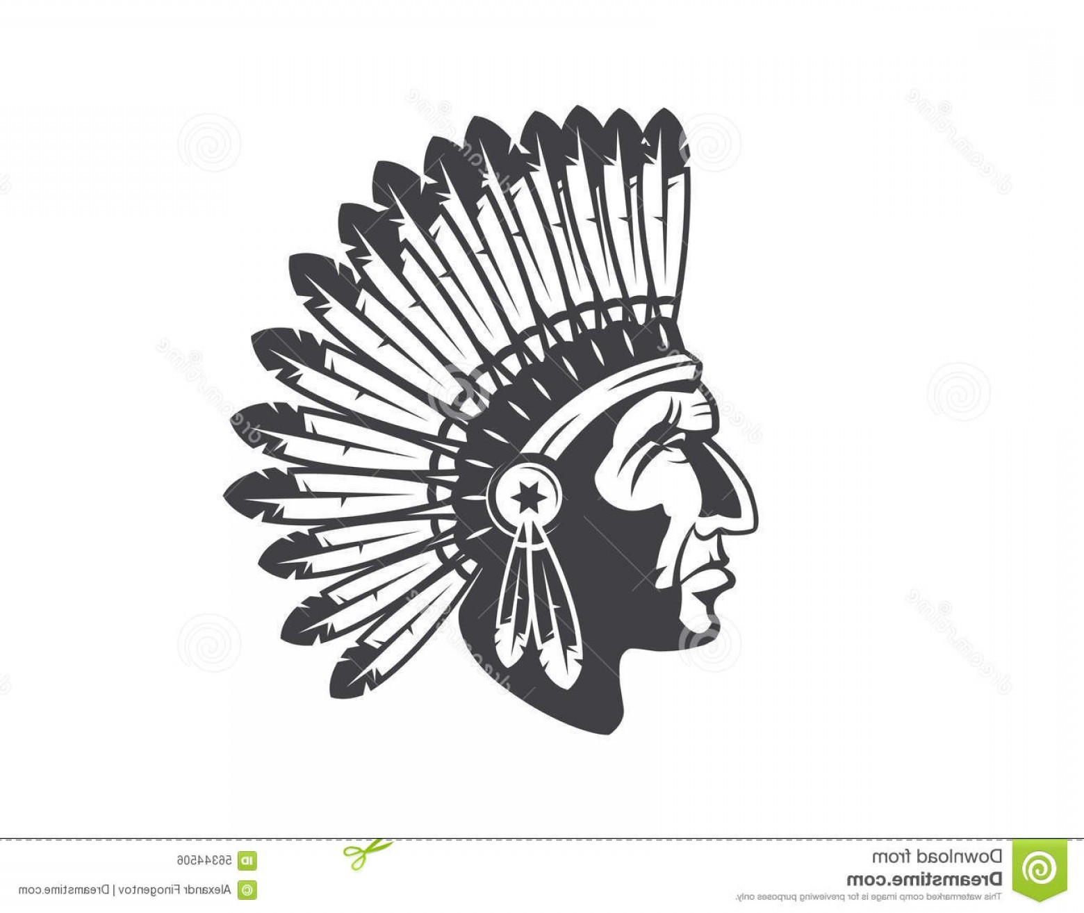 American Indian Chief Vector: Stock Illustration Native American Indian Chief Headdress Mascot Tribal Image