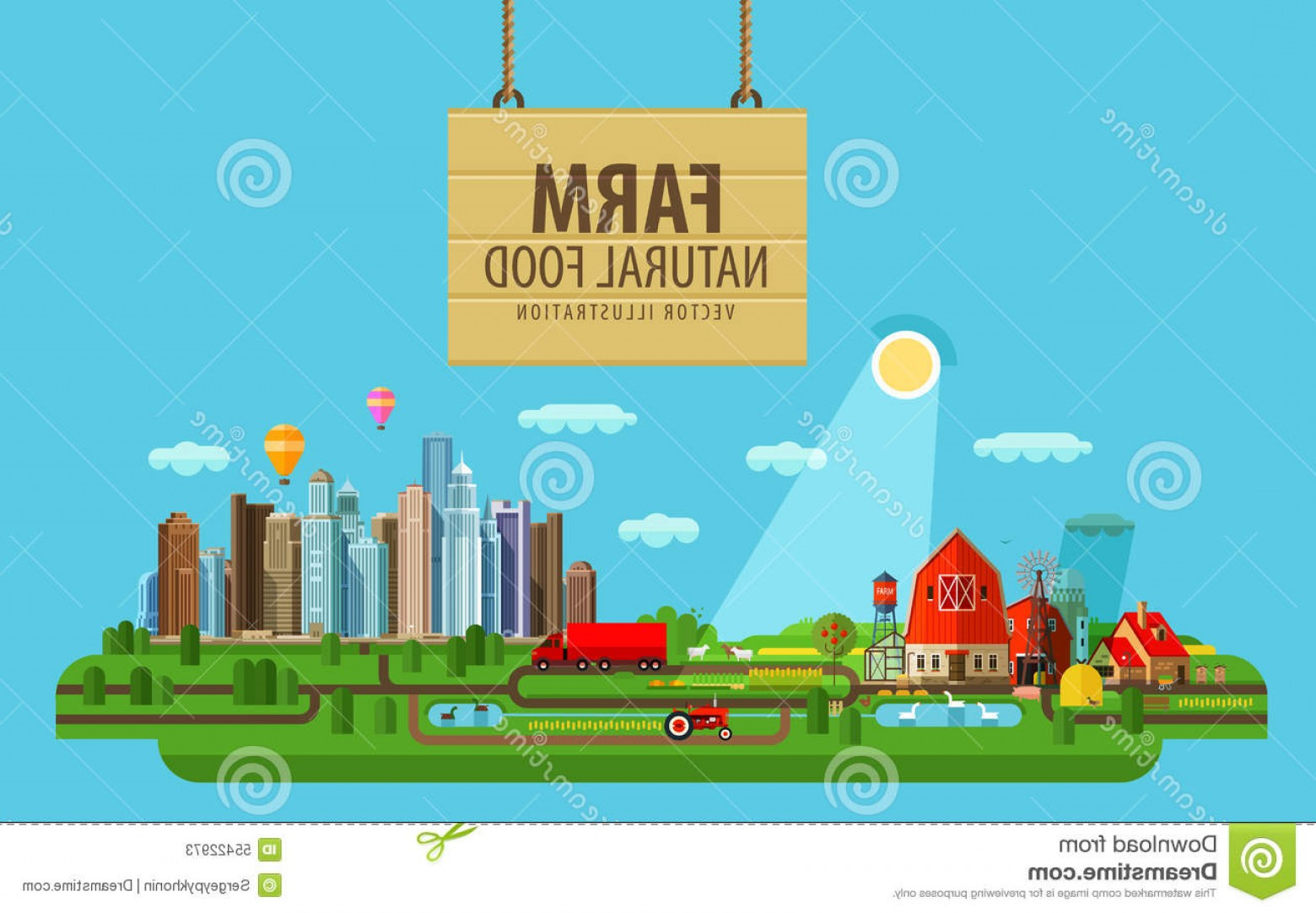 Farm Vector Illustration: Stock Illustration Natural Food Farm City Vector Illustration Buildings Greenhouses Flat Image