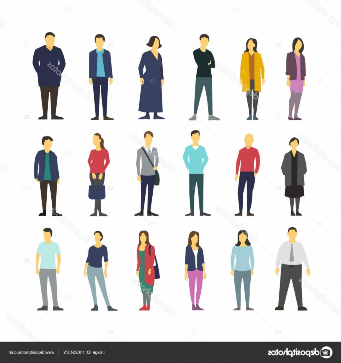 People Standing Vector: Stock Illustration Neatly Vector People Standing Flat