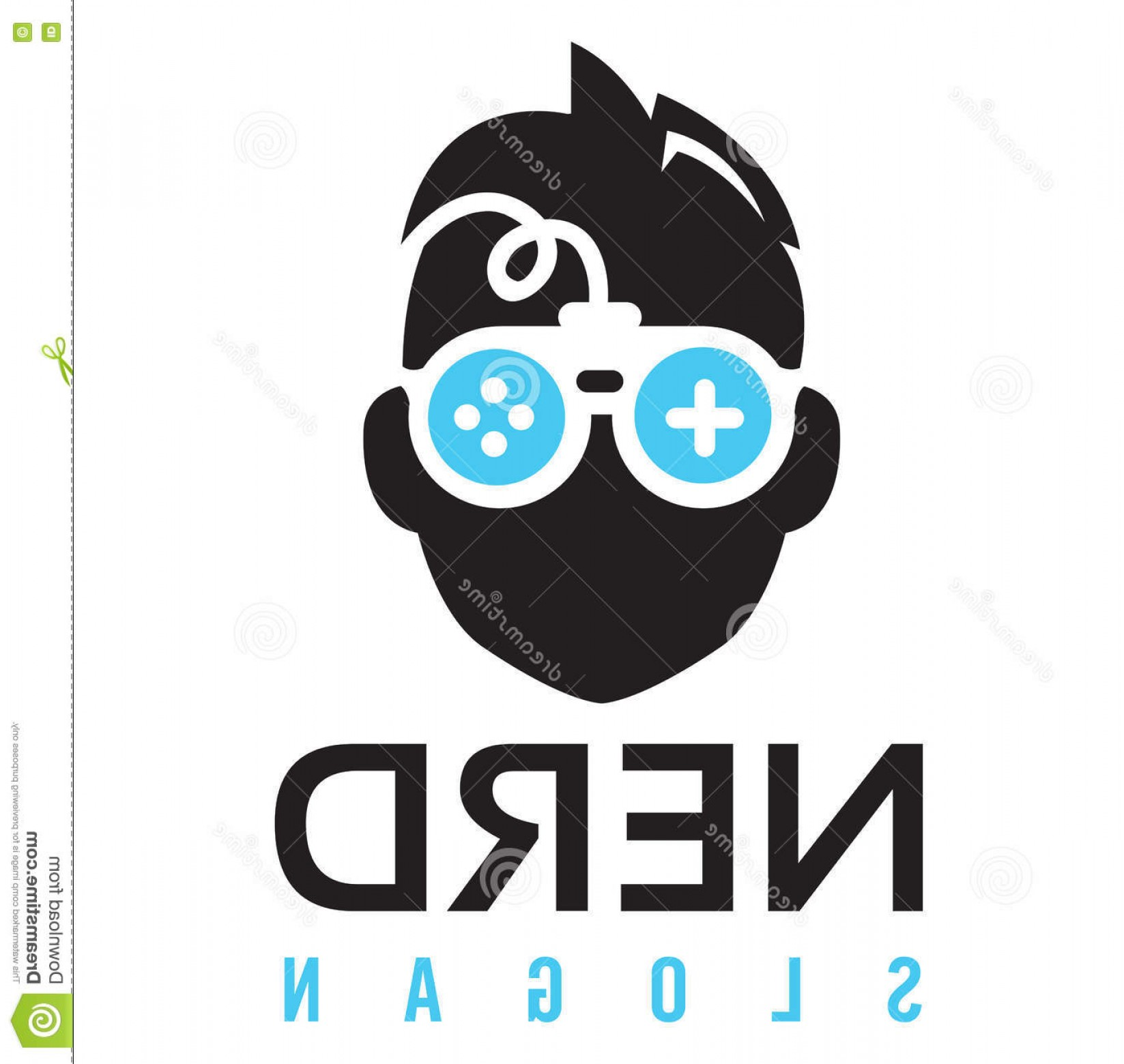 Nerd Vector: Stock Illustration Nerd Gaming Logo Character Face Wearing Pair Glasses Look Like Controller Image