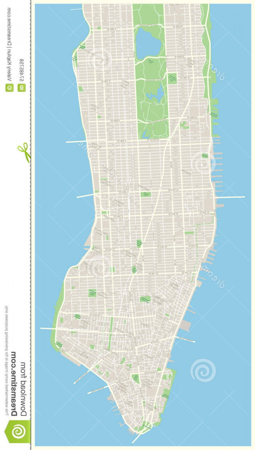 Midtown East Map Vector: Stock Illustration New York Map Lower Mid Manhattan Highly Detailed Vector Including All Streets Parks Names Subdistricts Points Image