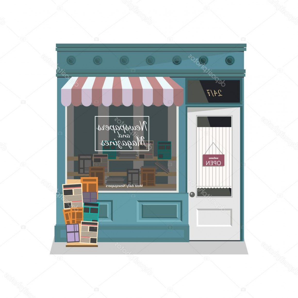 Vector Newspapers Snacks: Stock Illustration Newsstand Selling Newspapers And Magazines