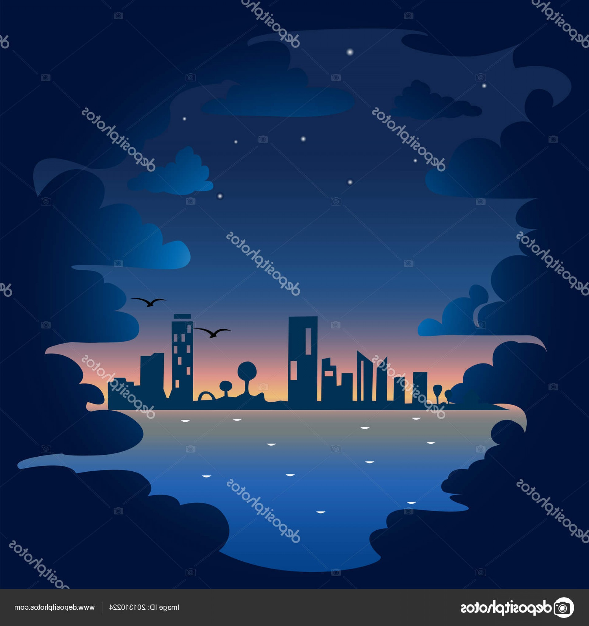 City Of Honolulu At Night Vector: Stock Illustration Night Clouds Sea Background Vector
