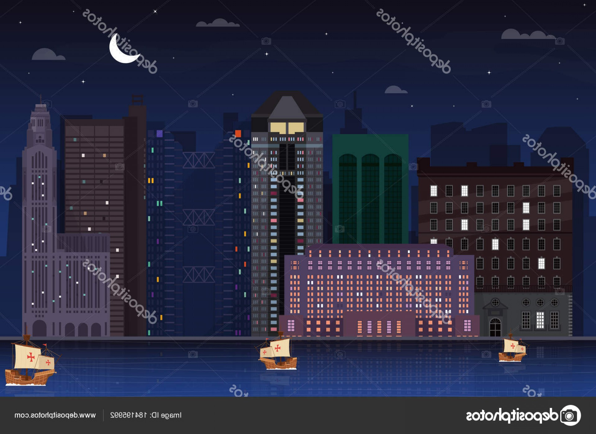 City Of Honolulu At Night Vector: Stock Illustration Night Time Columbus Ohio Skyline