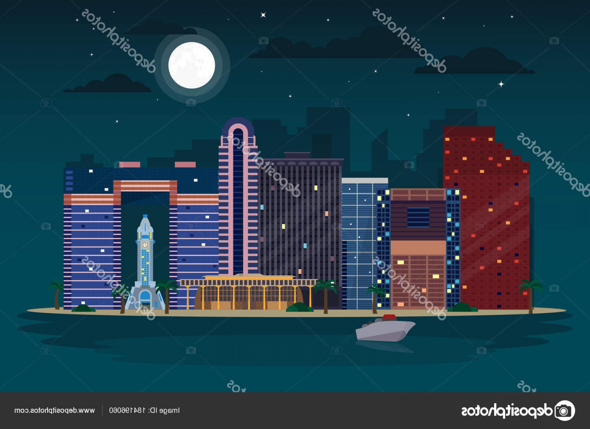 City Of Honolulu At Night Vector: Stock Illustration Night View Waikiki Skyline Honolulu