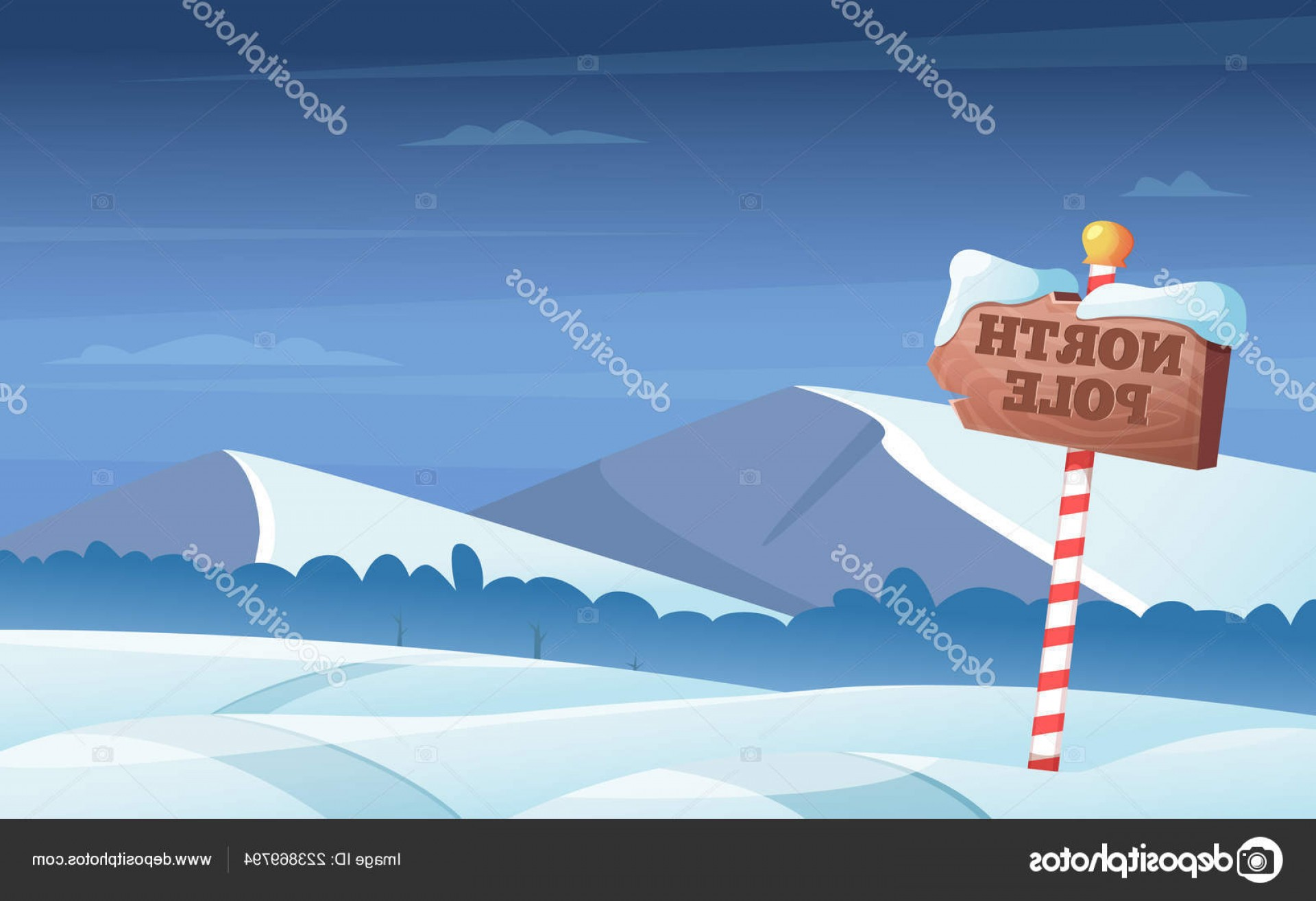 North Pole Landscape Vector: Stock Illustration North Pole Road Sign Snowy
