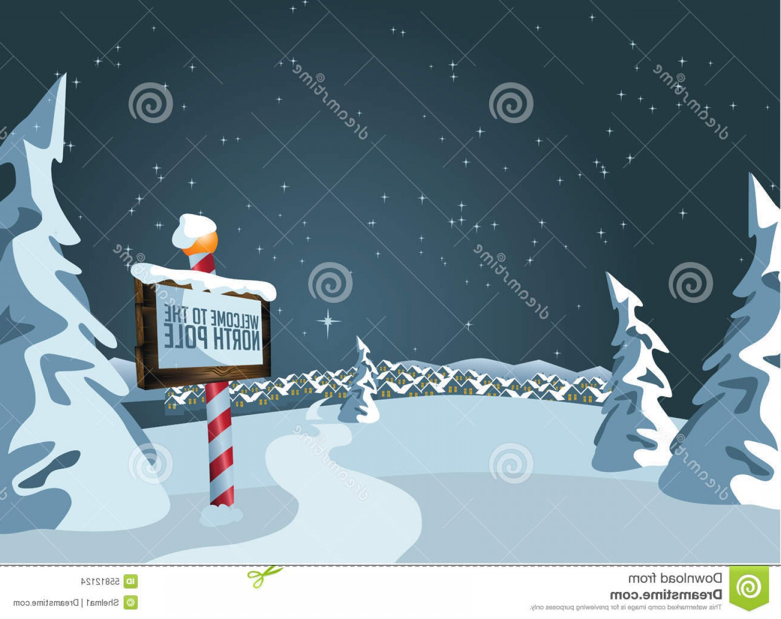 North Pole Landscape Vector: Stock Illustration North Pole Sign Snowy Background Eps Vector Image