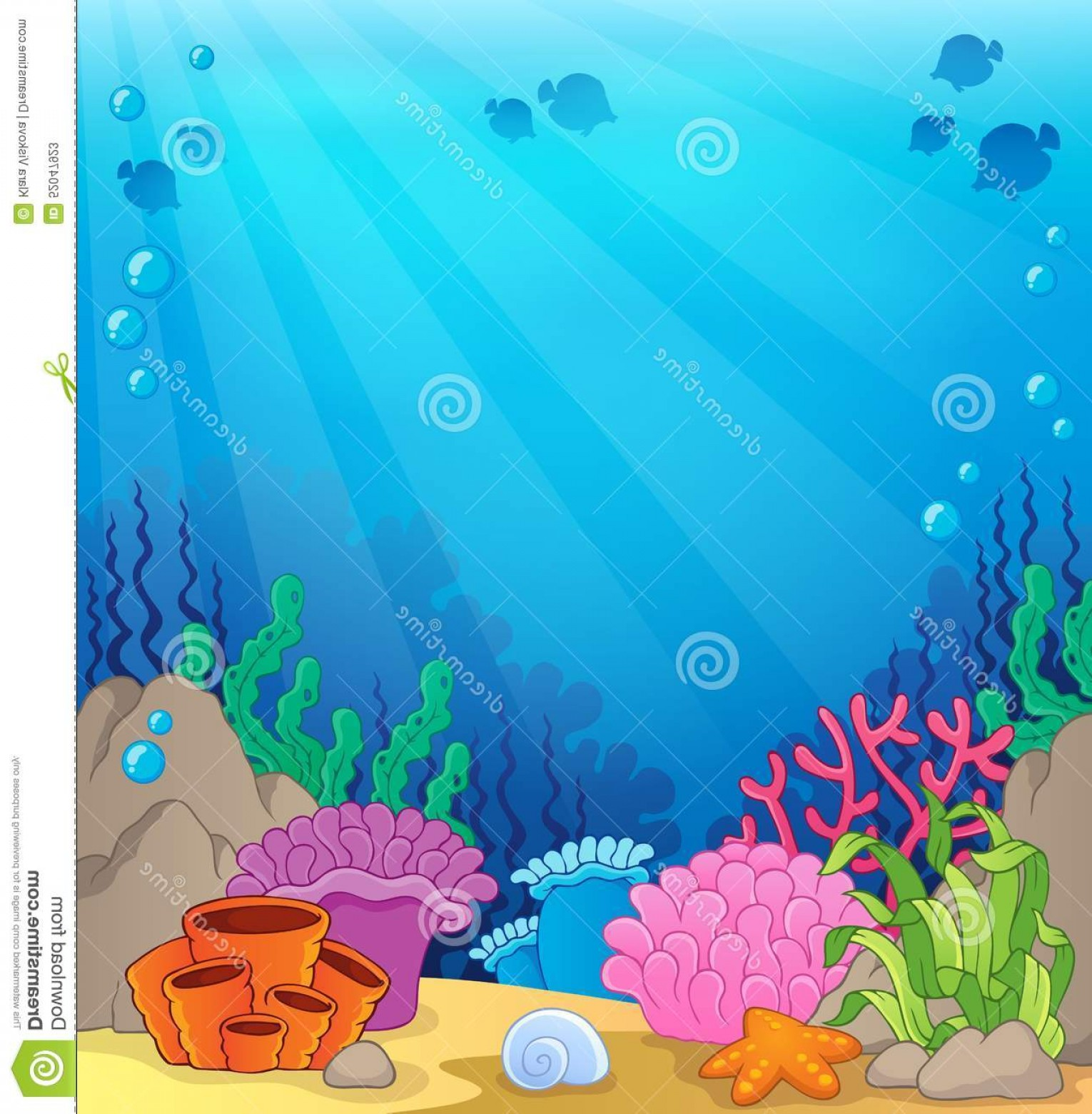 Underwater Sea Vector Art: Stock Illustration Ocean Underwater Theme Background Eps Vector Illustration Image