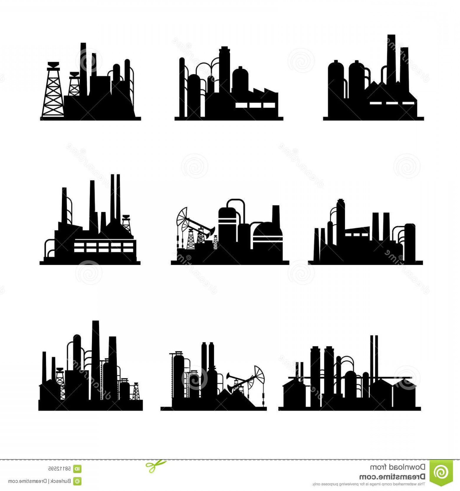 Factory Vector Skyline: Stock Illustration Oil Refinery Oil Processing Plant Icons Industrial Factory Technology Power Vector Illustration Image