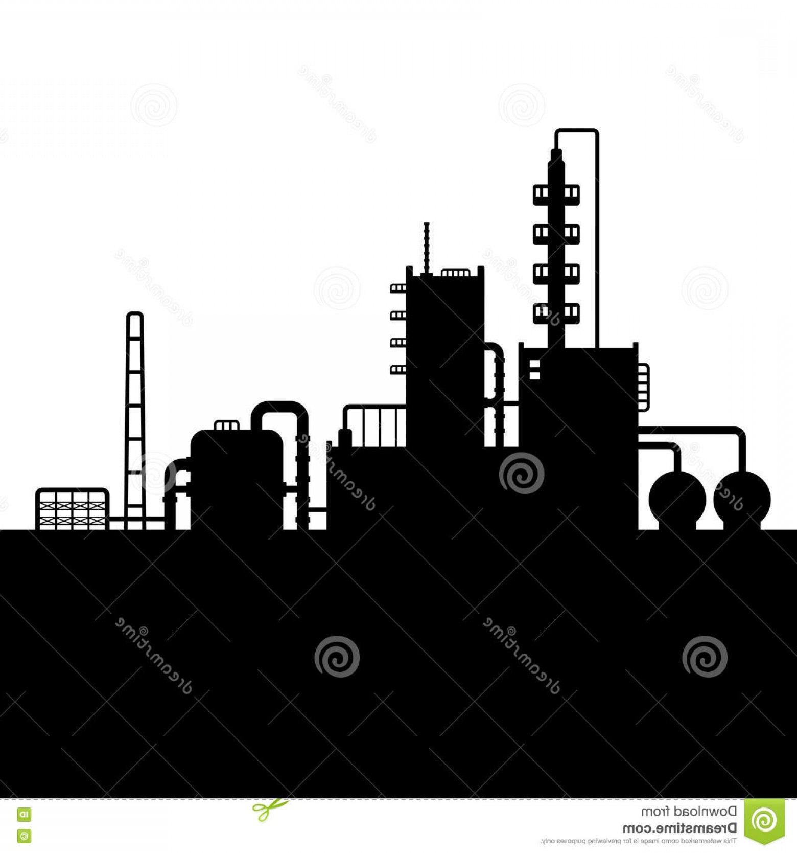 Factory Vector Skyline: Stock Illustration Oil Refinery Plant Chemical Factory Silhouette Vector Illustration Image