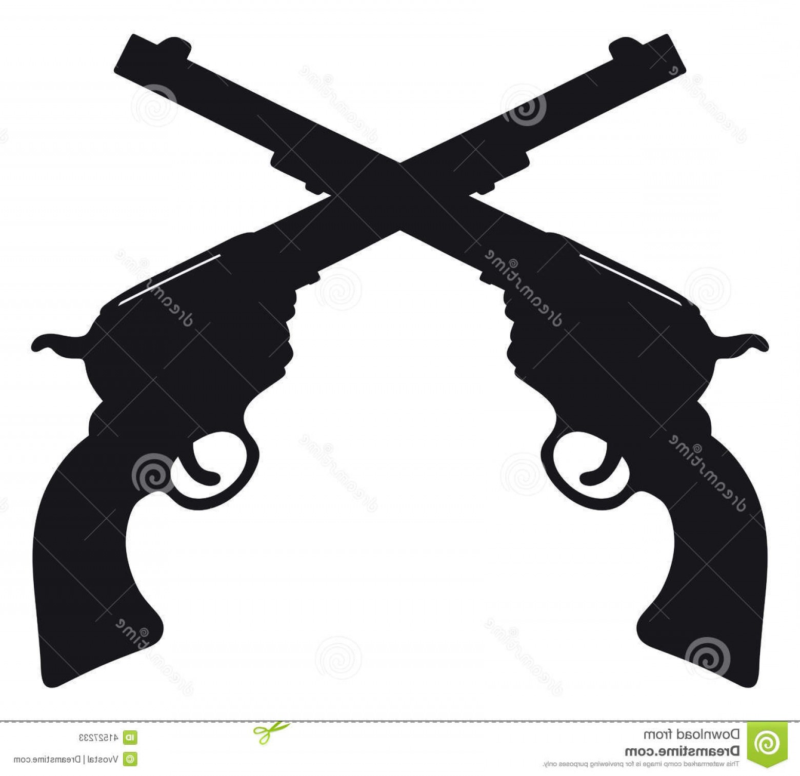 American Gun Vector: Stock Illustration Old American Guns Hand Drawing Two Antique Revolvers Image
