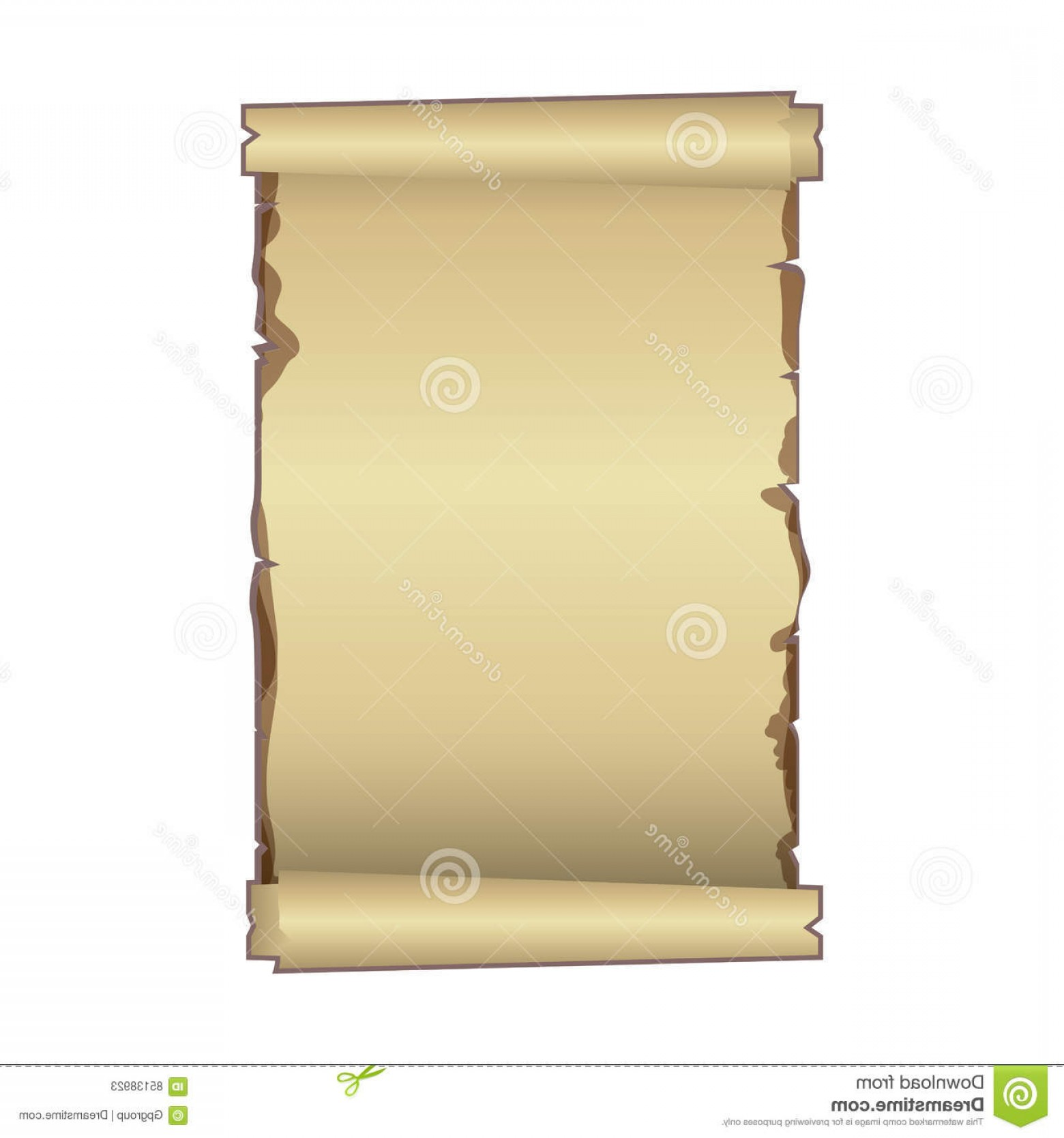 Grunge Scroll Vector Design: Stock Illustration Old Ancient Papyrus Parchment Scroll Vector Illustration Image
