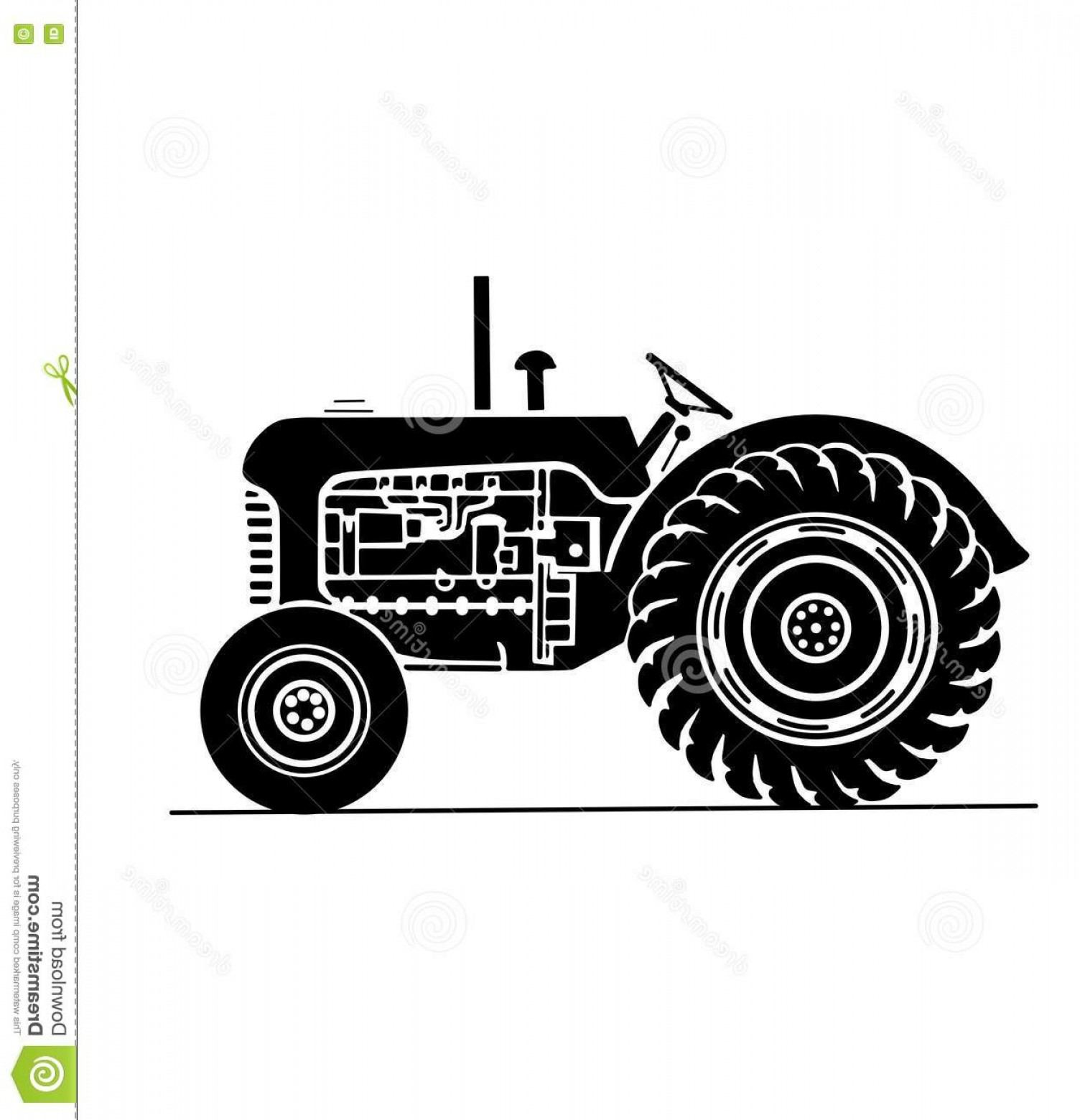 Vintage Tractor Vector Art: Stock Illustration Old Farm Tractor Side View Illustration Plane Image