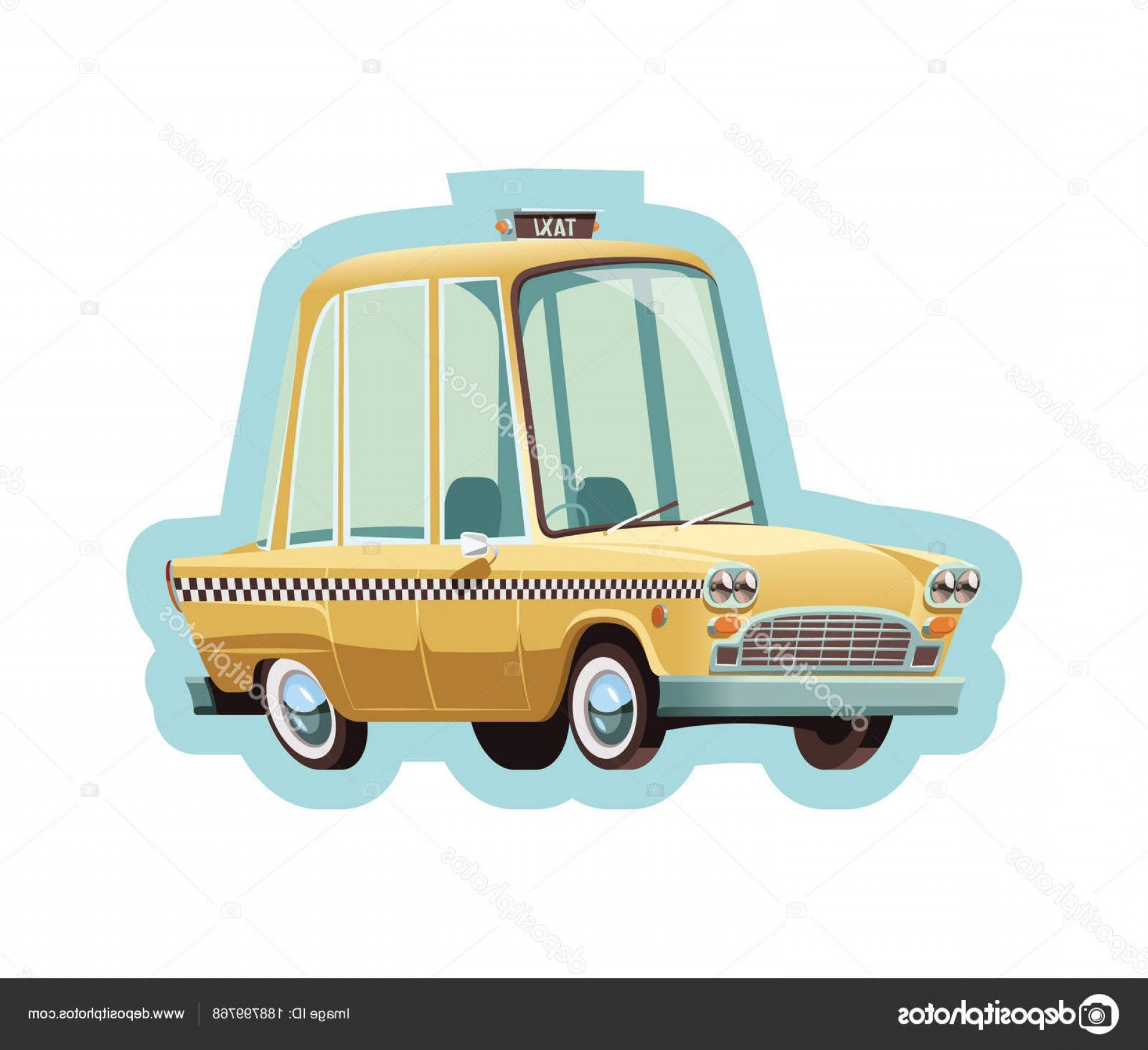 New York Taxi Cab Vector: Stock Illustration Old New York Yellow Taxi