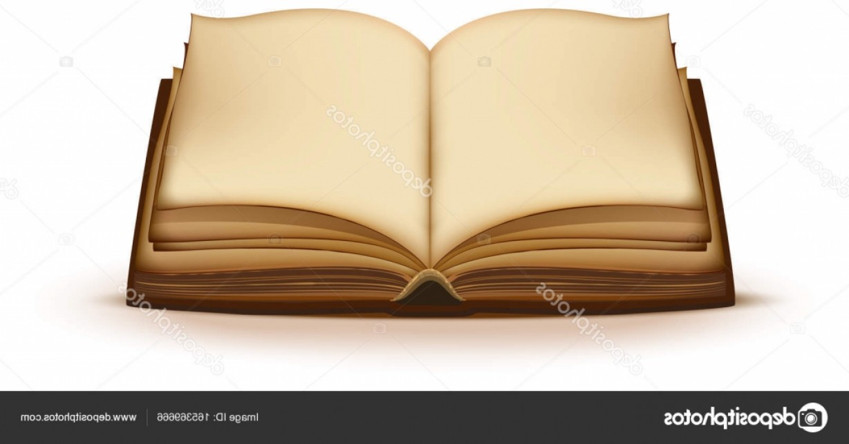 Cartoon Blank Open Book Vector: Stock Illustration Old Open Magic Book With