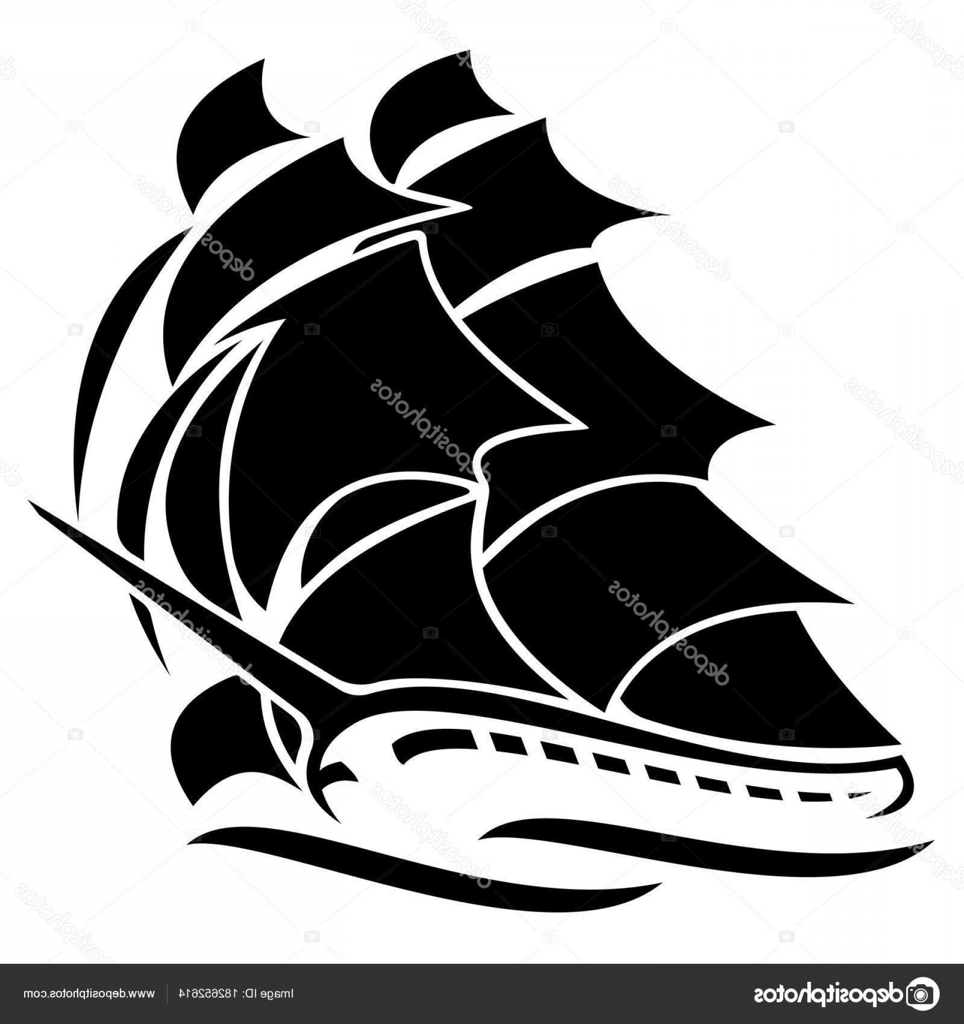 Boat Vector Art Graphics: Stock Illustration Old Tall Sailing Ship Vector