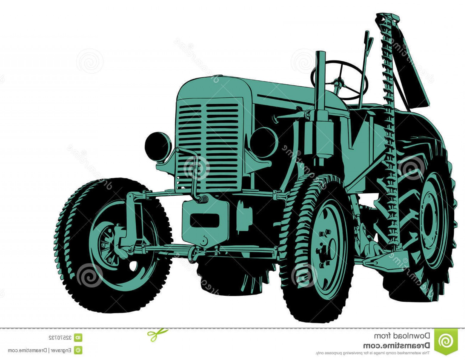 Vintage Tractor Vector Art: Stock Illustration Old Tractor Hand Drawing Red Classic Not Real Type Image