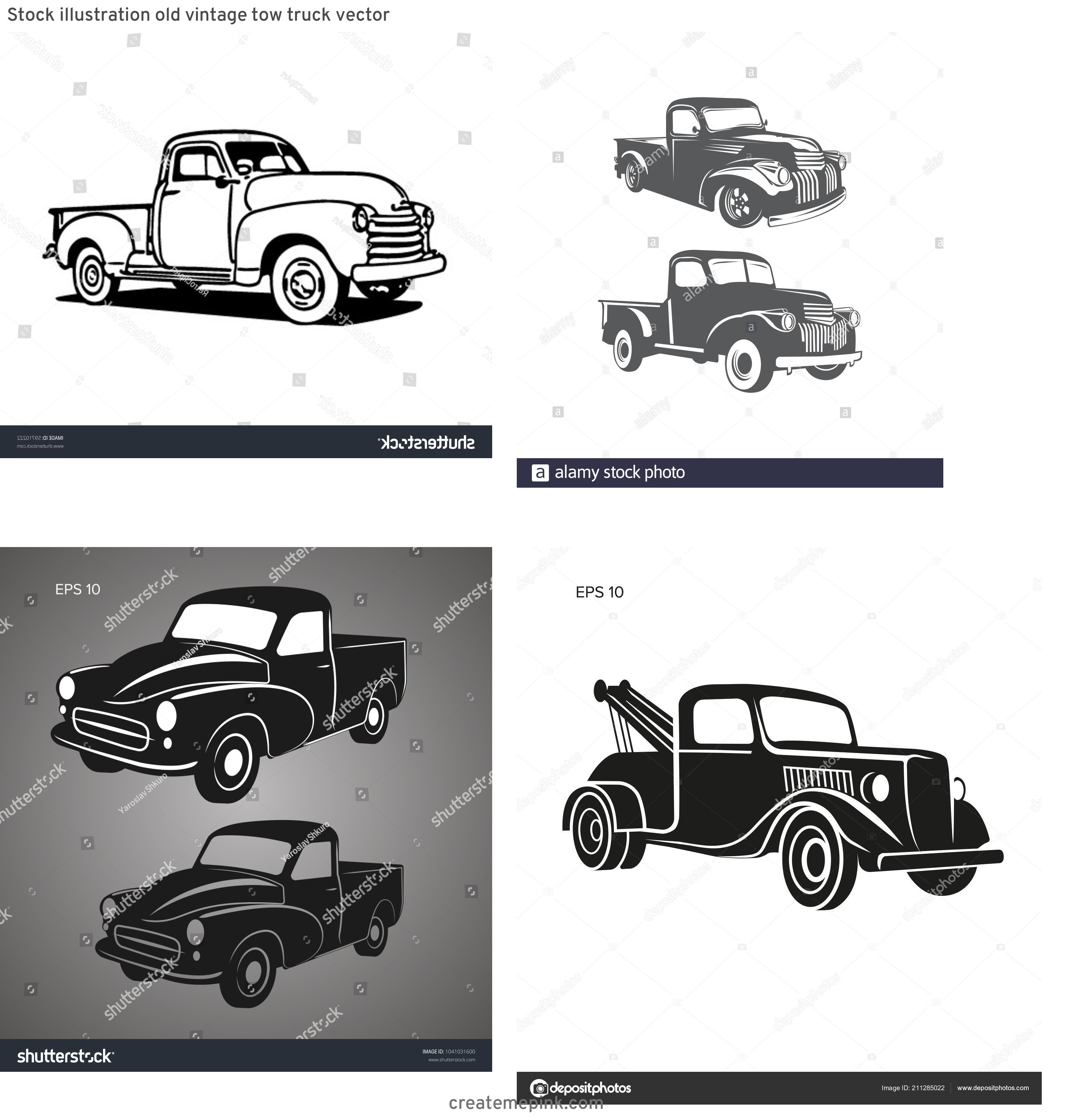 Old Truck Vector: Stock Illustration Old Vintage Tow Truck Vector