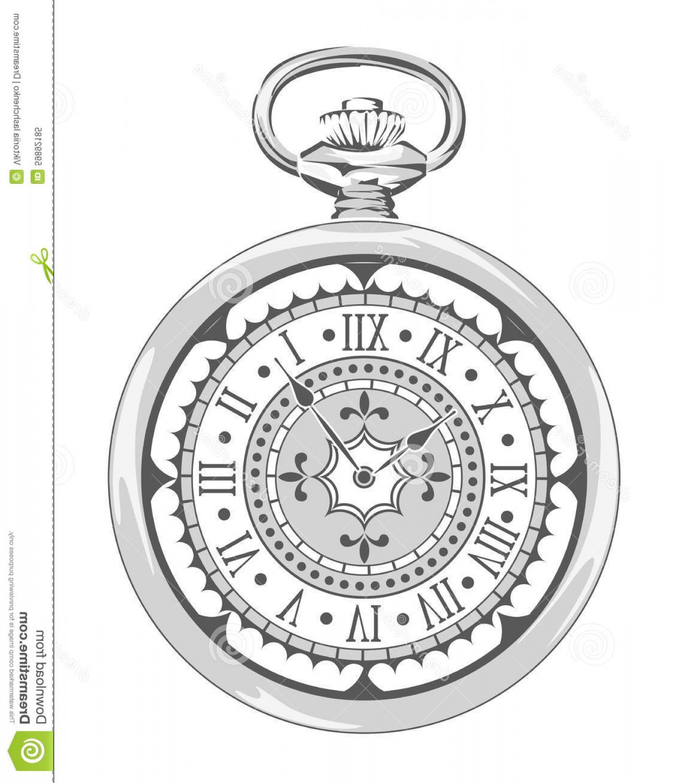 Watch Face Vector: Stock Illustration Old Vintage Watch Decorative Face Vector Illustration Image