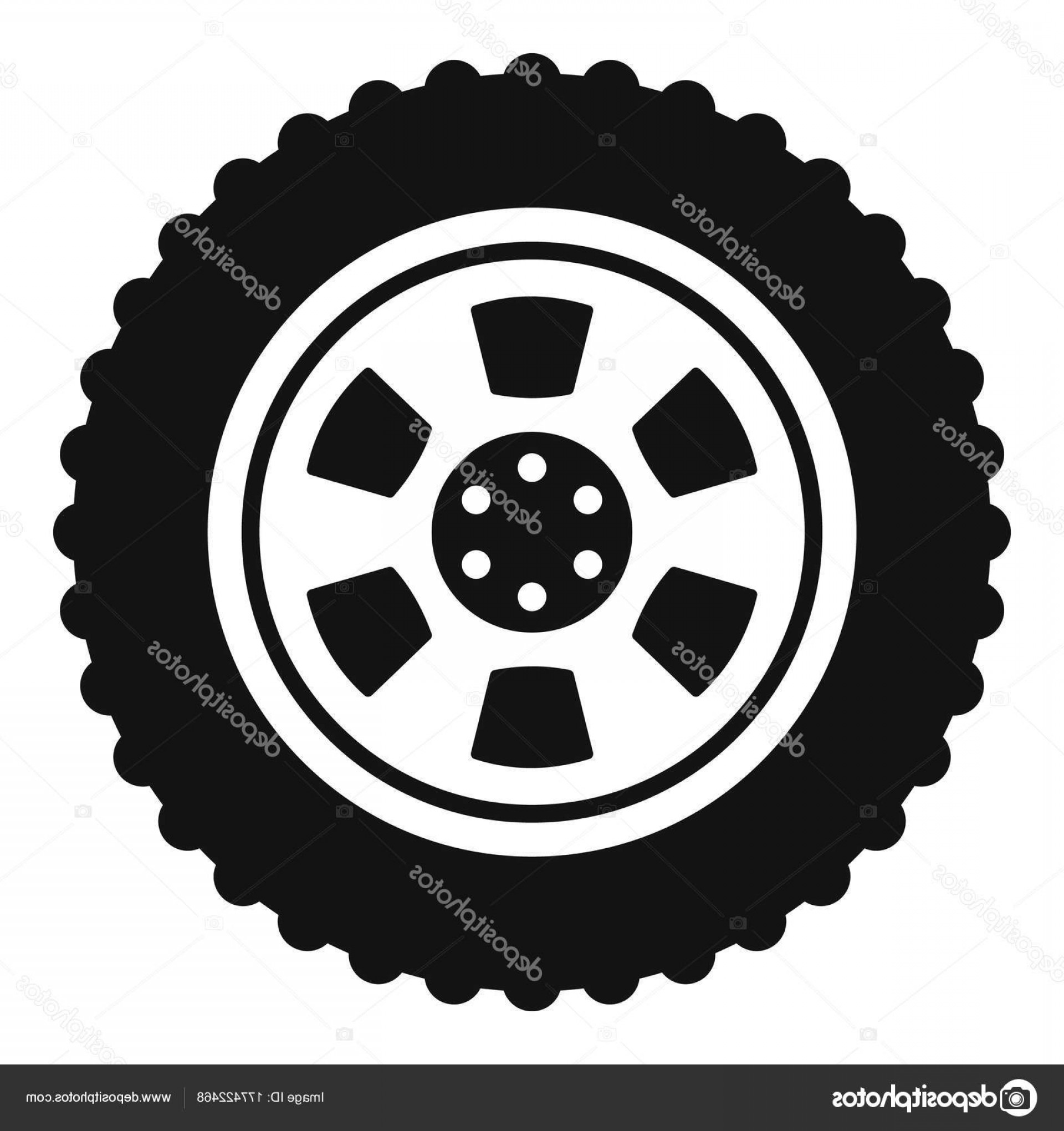 Tire Icon Vector: Stock Illustration One Tire Icon Simple Style