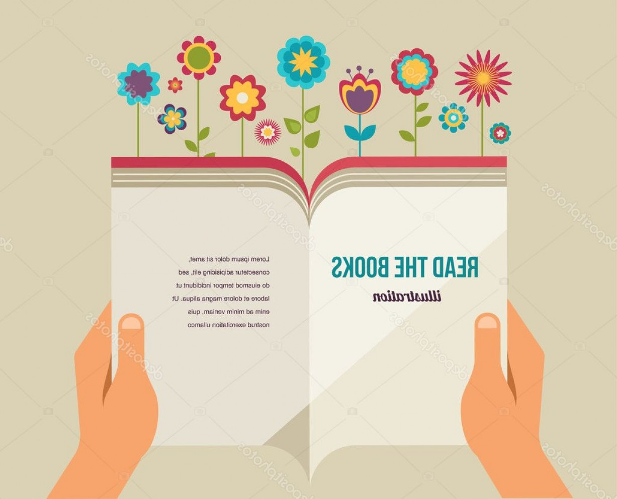 Open Book Vector Flat: Stock Illustration Open Book With Flowers Flat