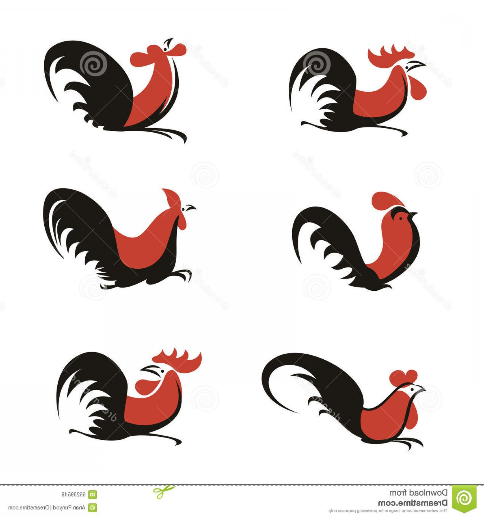 Poultry Vector Art: Stock Illustration Orange Black Chicken Rooster Logo Sign Vector Art Set Design Image