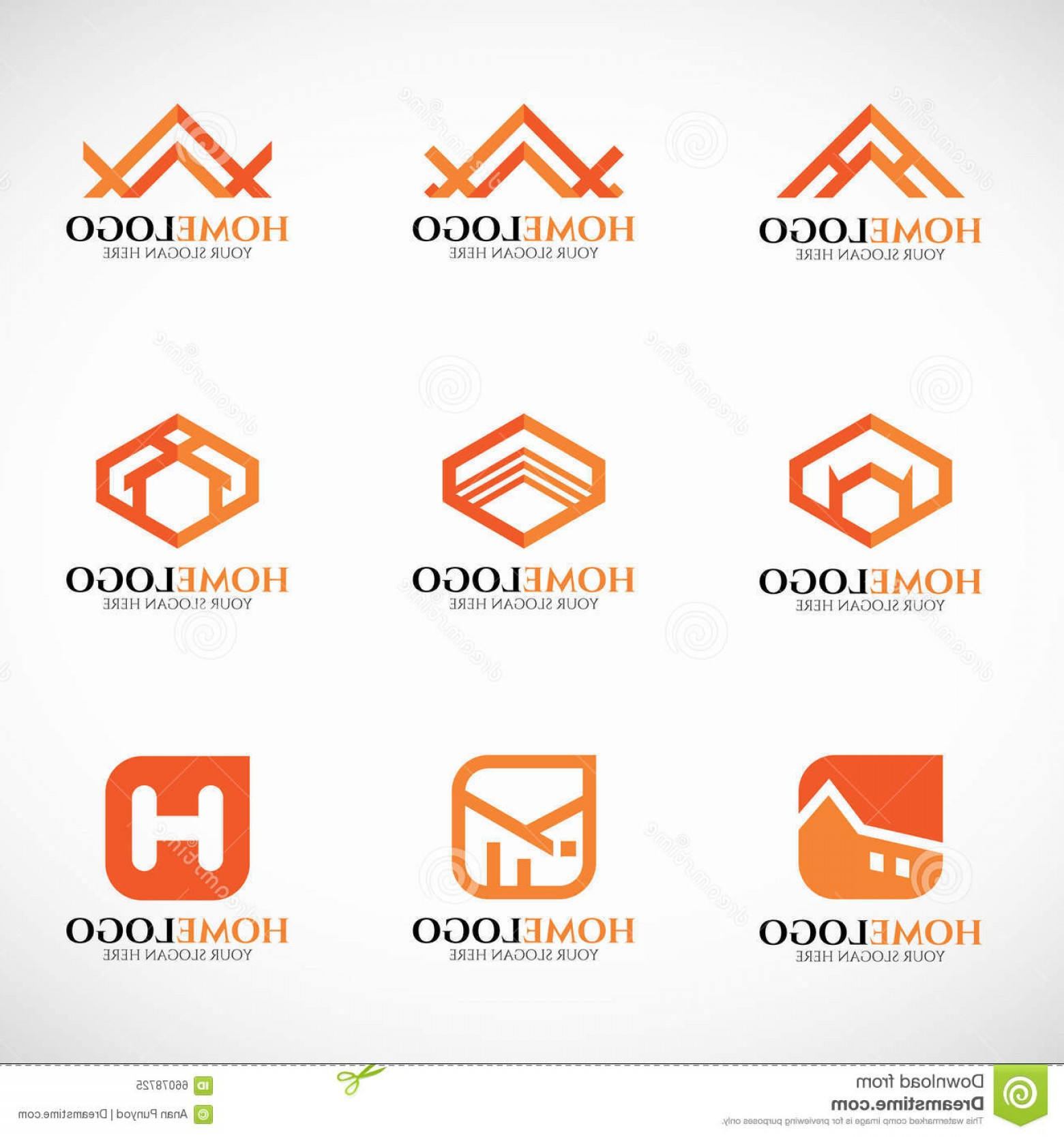 Home Logo Vector: Stock Illustration Orange Home Logo Vector Set Art Design Image